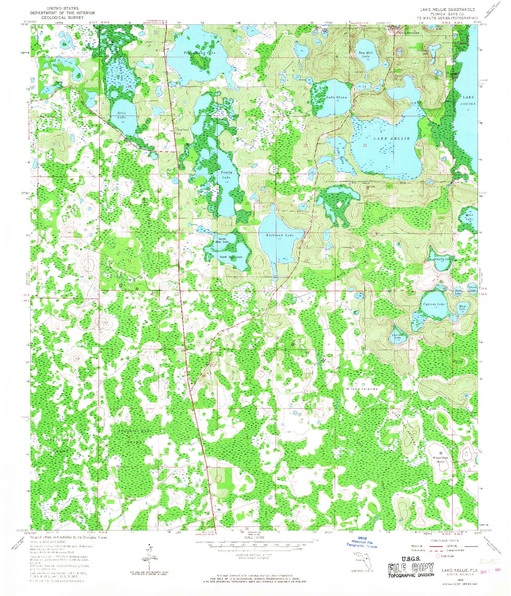 USGS 1:24000-SCALE QUADRANGLE FOR LAKE NELLIE, FL 1959