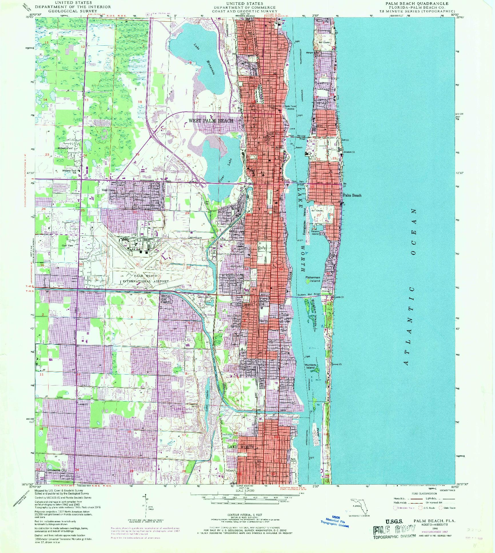 USGS 1:24000-SCALE QUADRANGLE FOR PALM BEACH, FL 1946