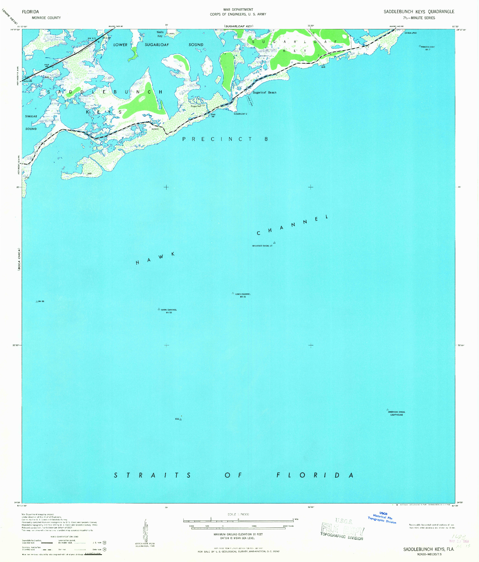 USGS 1:24000-SCALE QUADRANGLE FOR SADDLEBUNCH KEYS, FL 1968