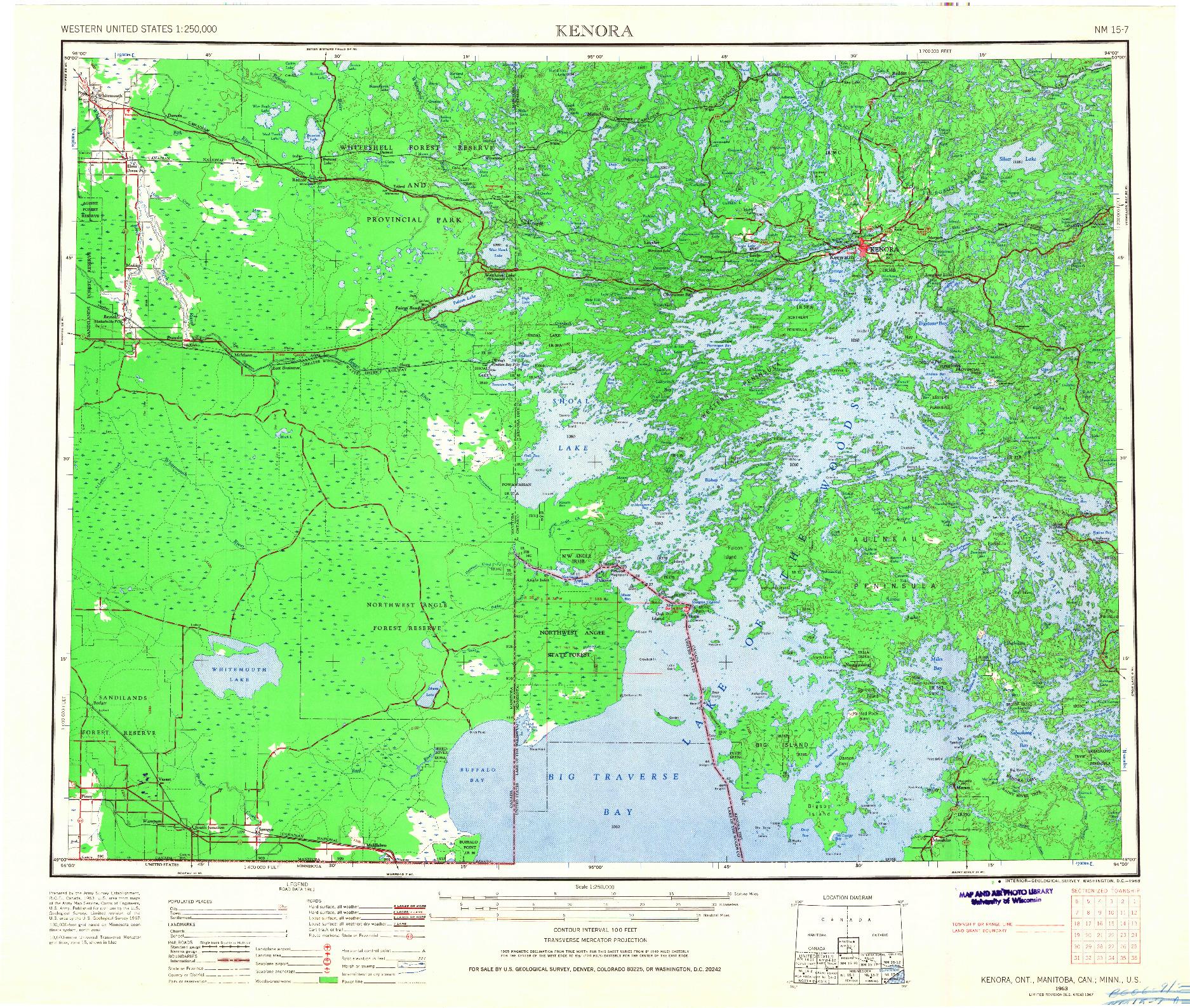 USGS 1:250000-SCALE QUADRANGLE FOR KENORA, MN 1963