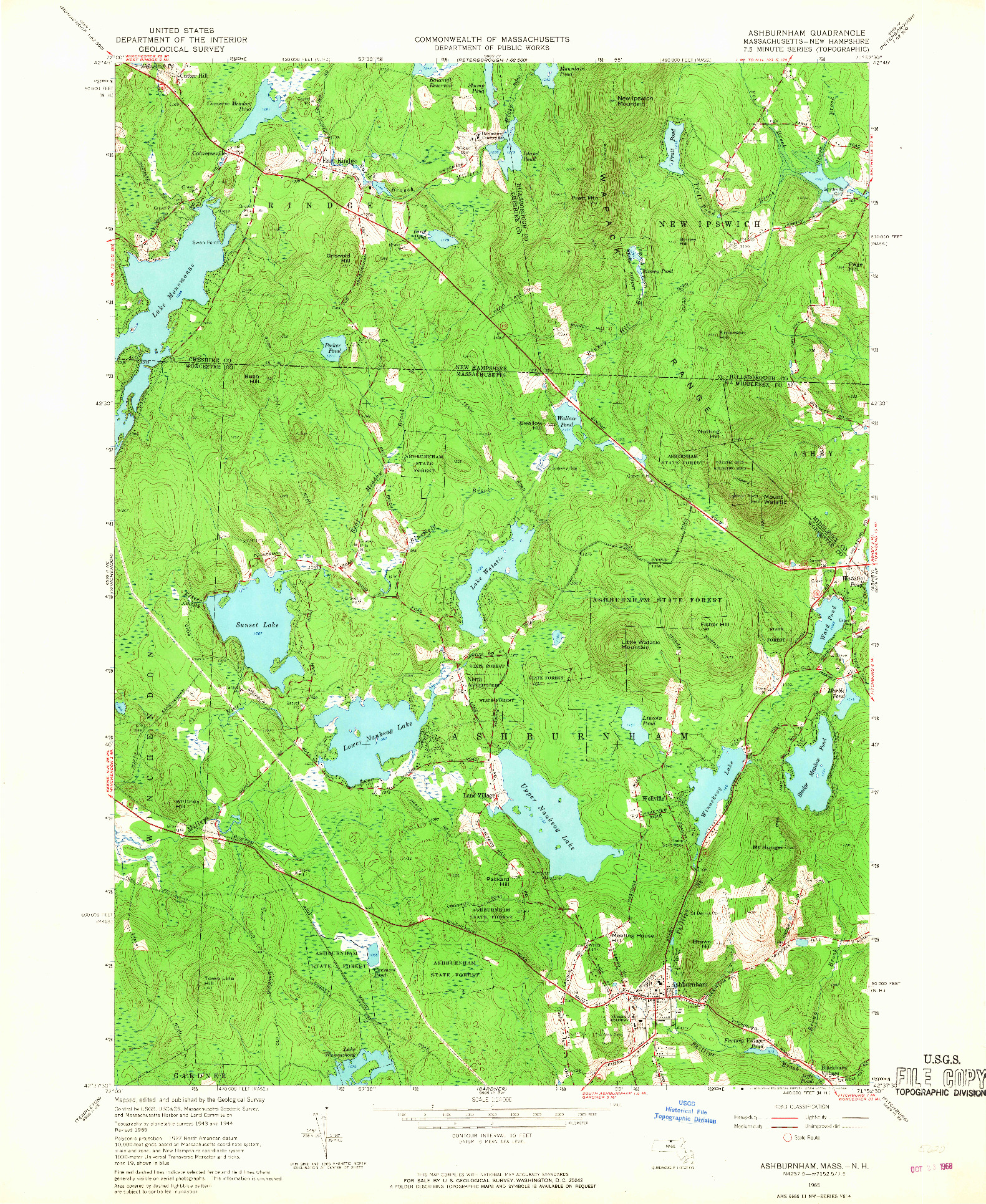 USGS 1:24000-SCALE QUADRANGLE FOR ASHBURNHAM, MA 1965