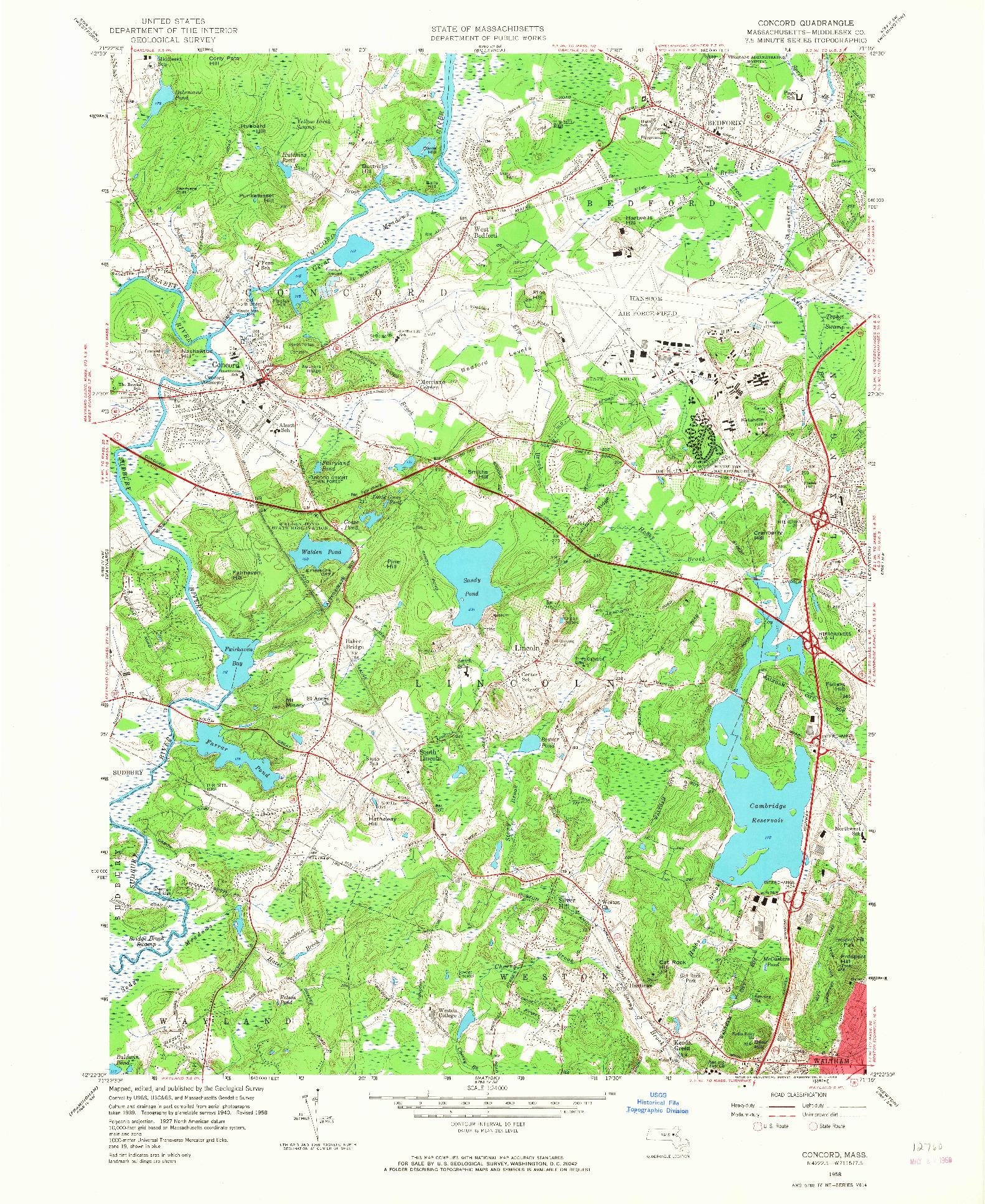 USGS 1:24000-SCALE QUADRANGLE FOR CONCORD, MA 1958
