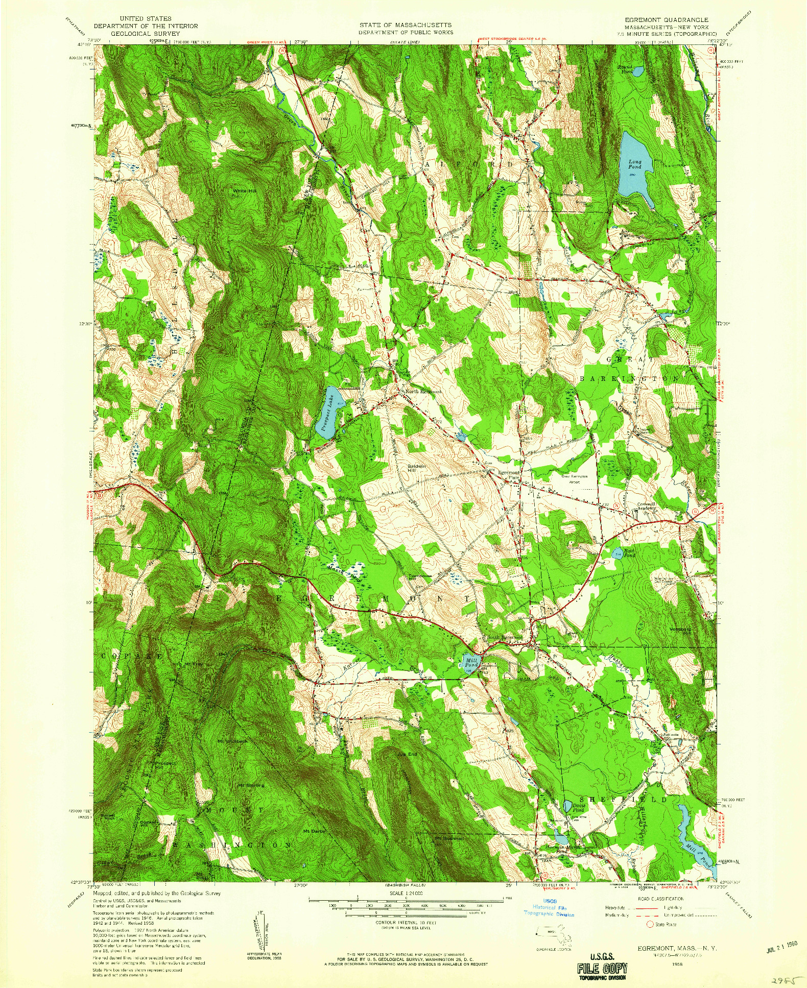 USGS 1:24000-SCALE QUADRANGLE FOR EGREMONT, MA 1958