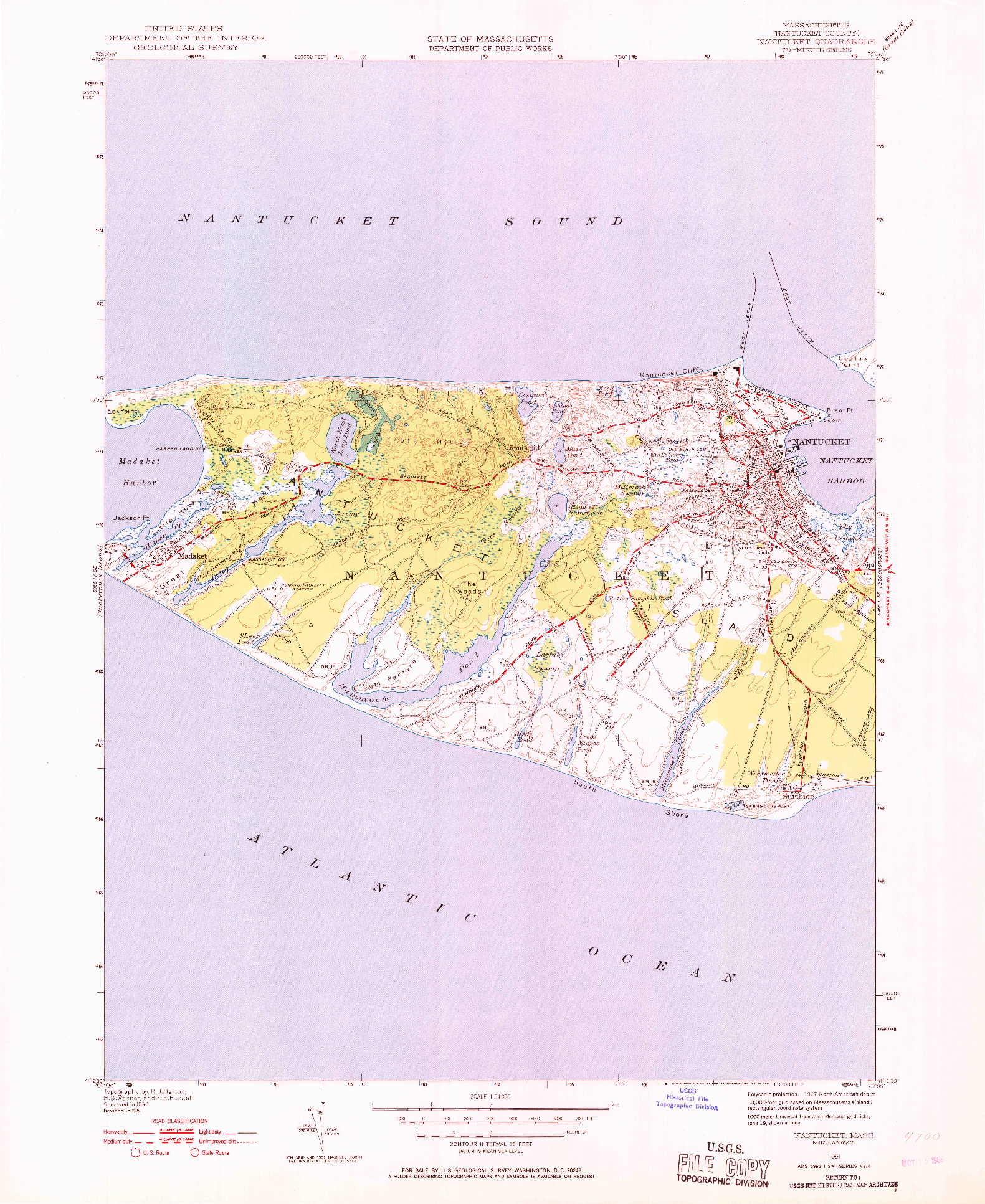 USGS 1:24000-SCALE QUADRANGLE FOR NANTUCKET, MA 1951