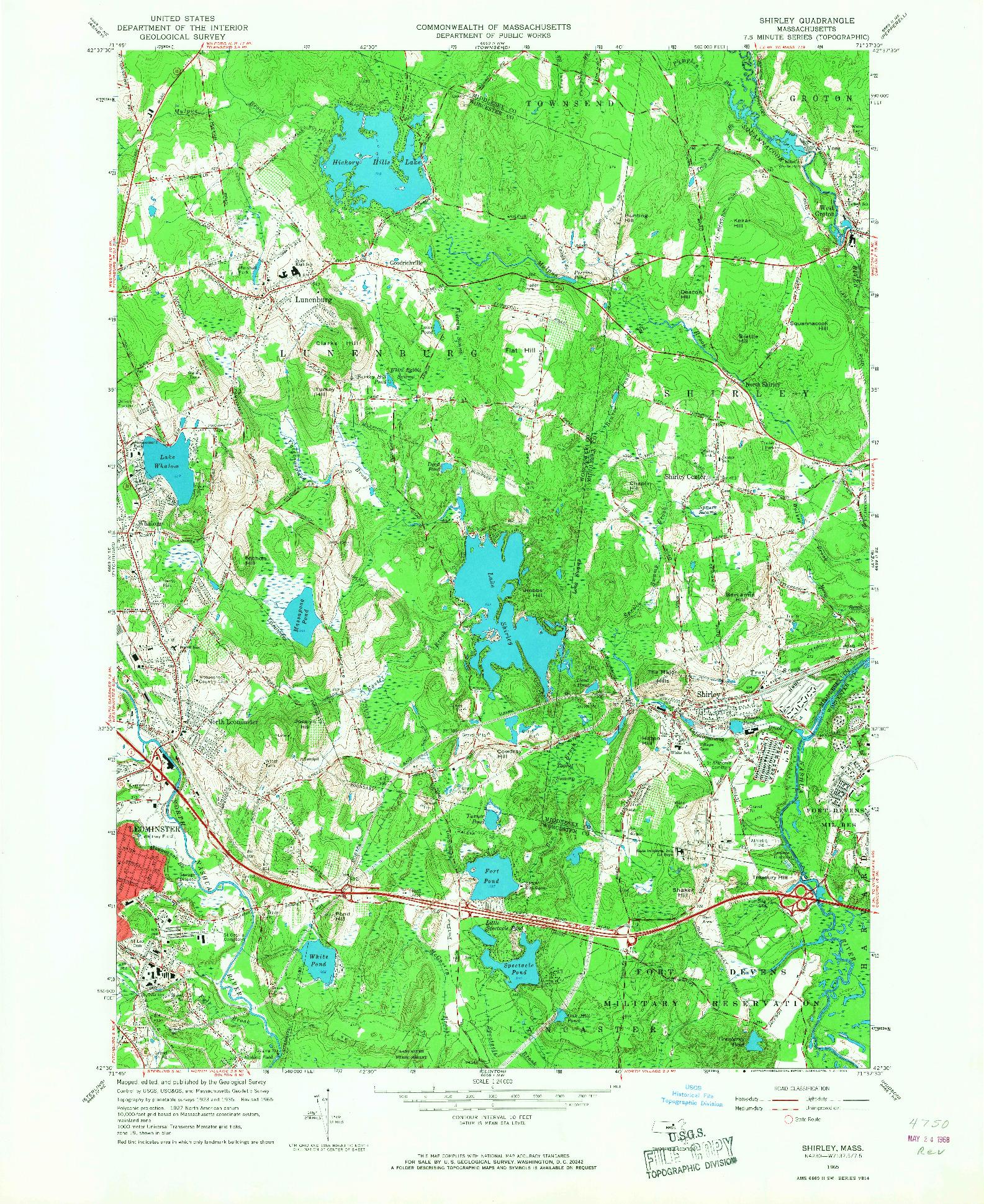 USGS 1:24000-SCALE QUADRANGLE FOR SHIRLEY, MA 1965