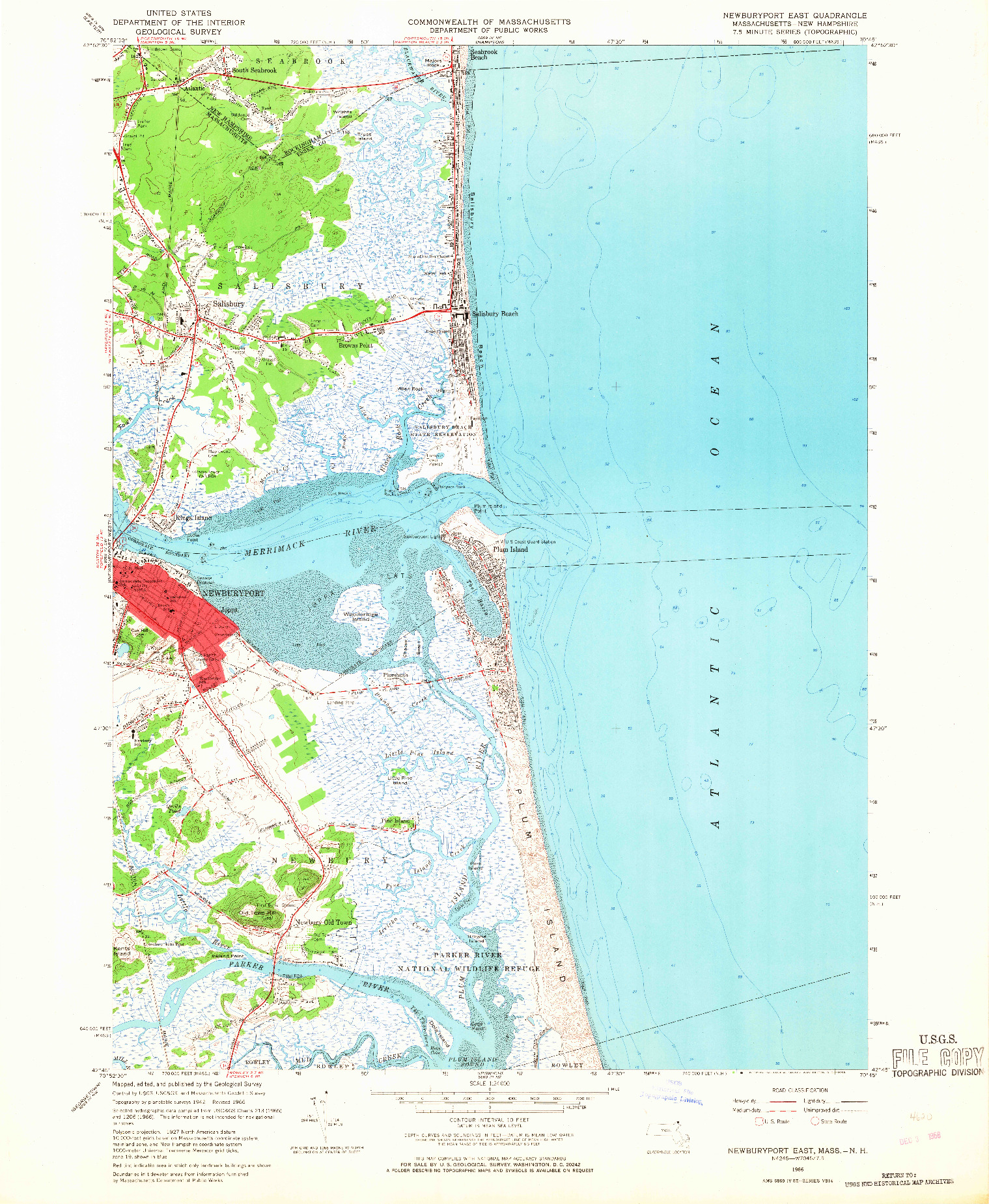 USGS 1:25000-SCALE QUADRANGLE FOR NEWBURYPORT EAST, MA 1966