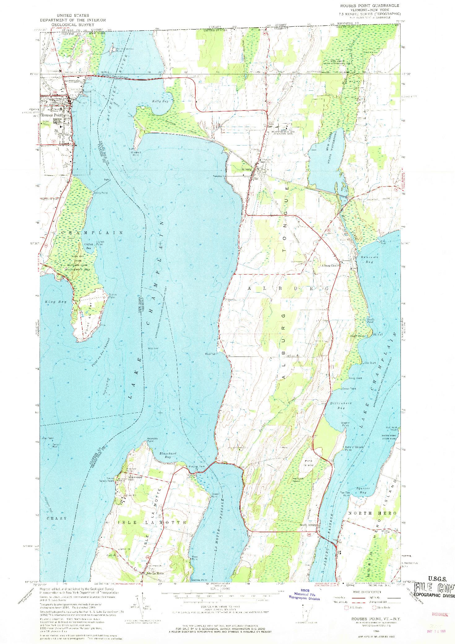 USGS 1:24000-SCALE QUADRANGLE FOR ROUSES POINT, VT 1966