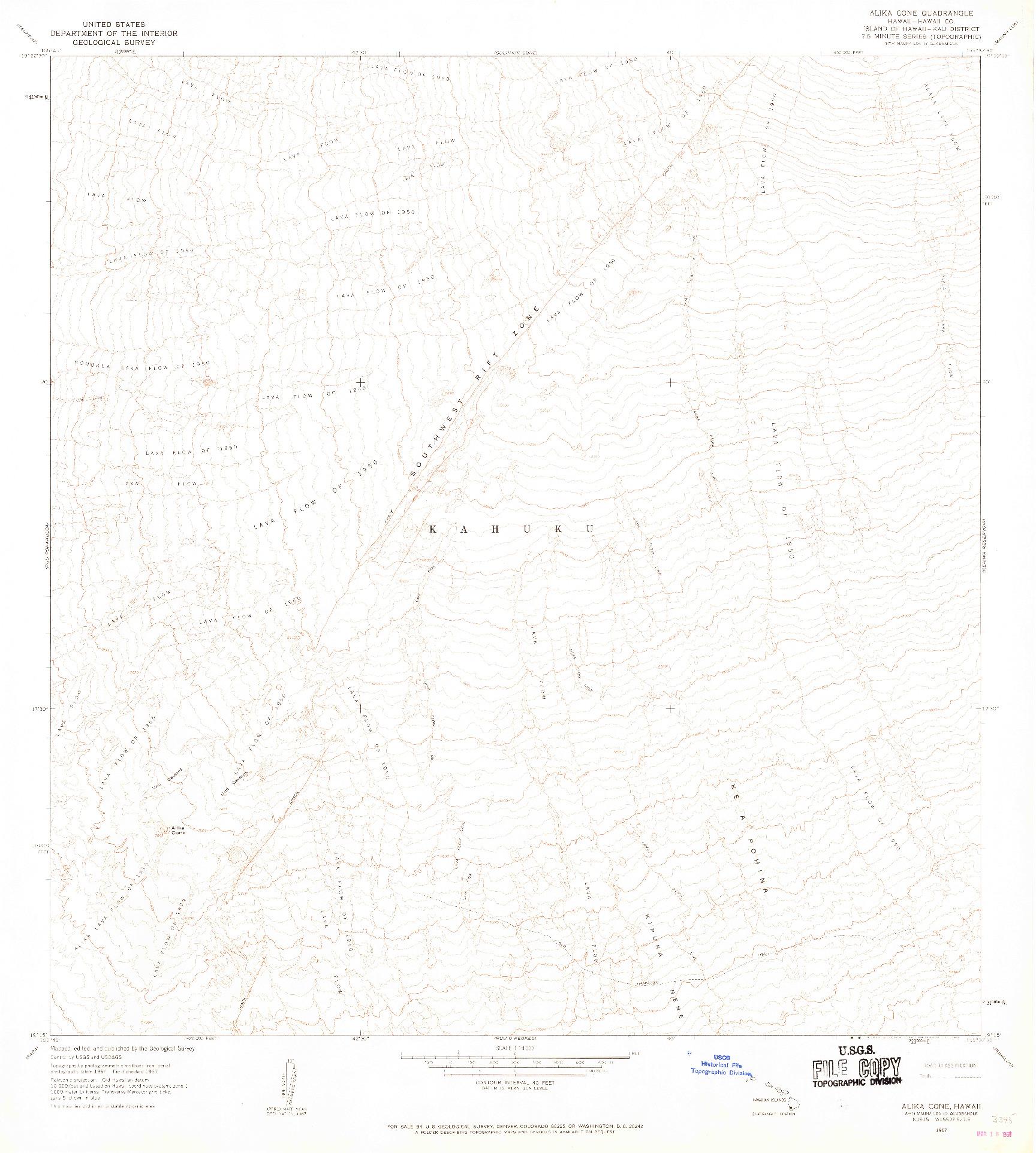 USGS 1:24000-SCALE QUADRANGLE FOR ALIKA CONE, HI 1967