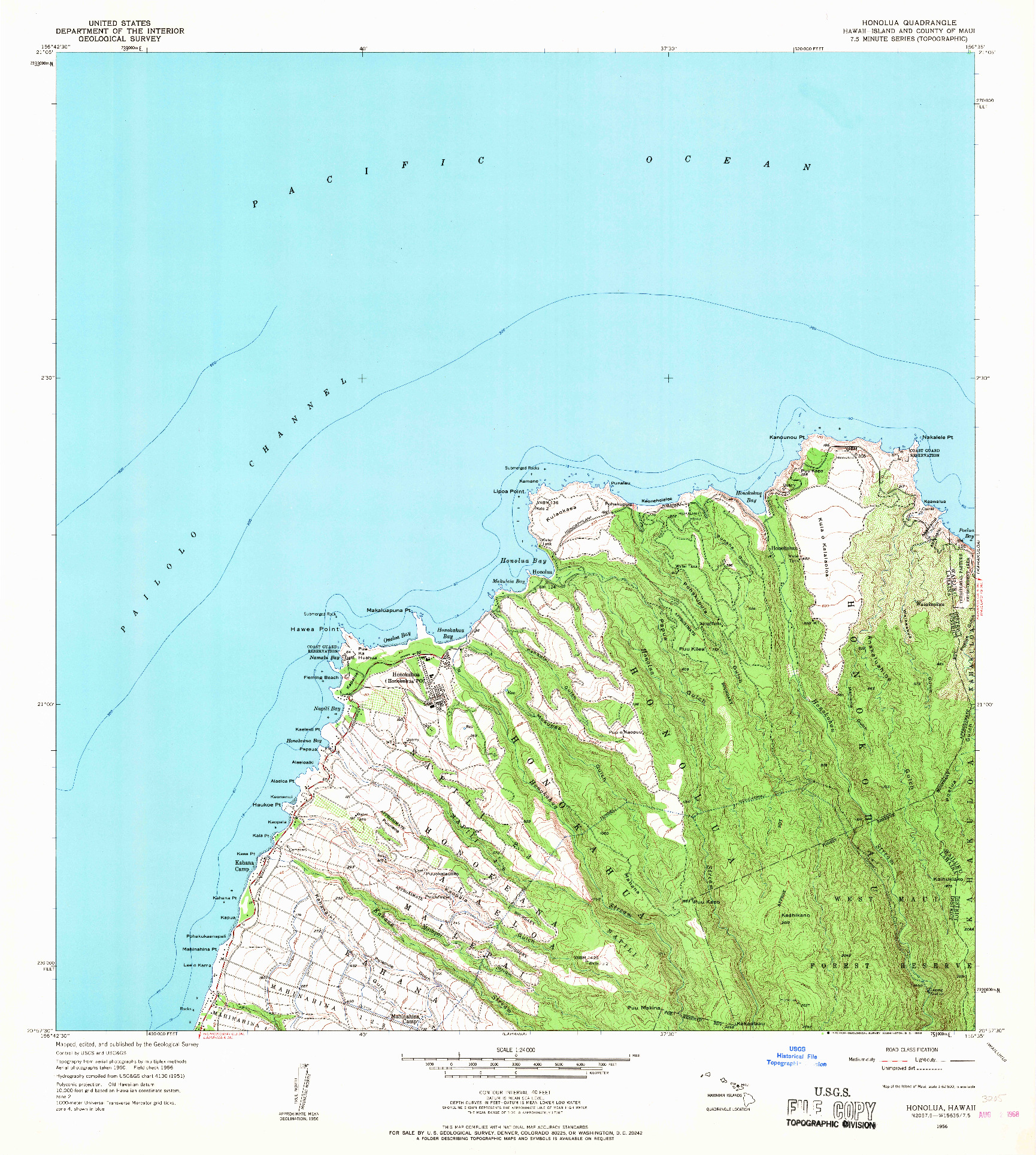 USGS 1:24000-SCALE QUADRANGLE FOR HONOLUA, HI 1956