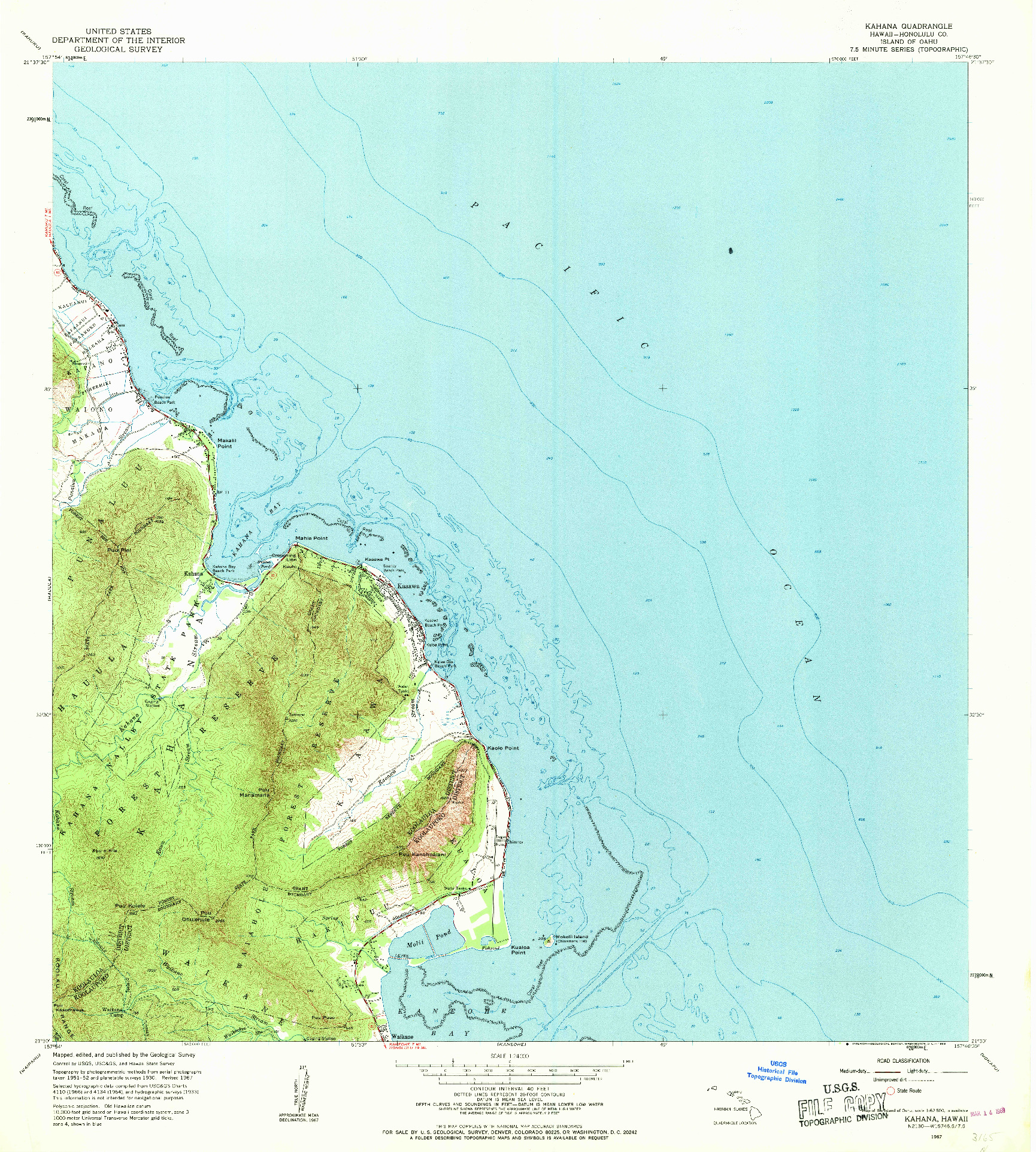 USGS 1:24000-SCALE QUADRANGLE FOR KAHANA, HI 1967