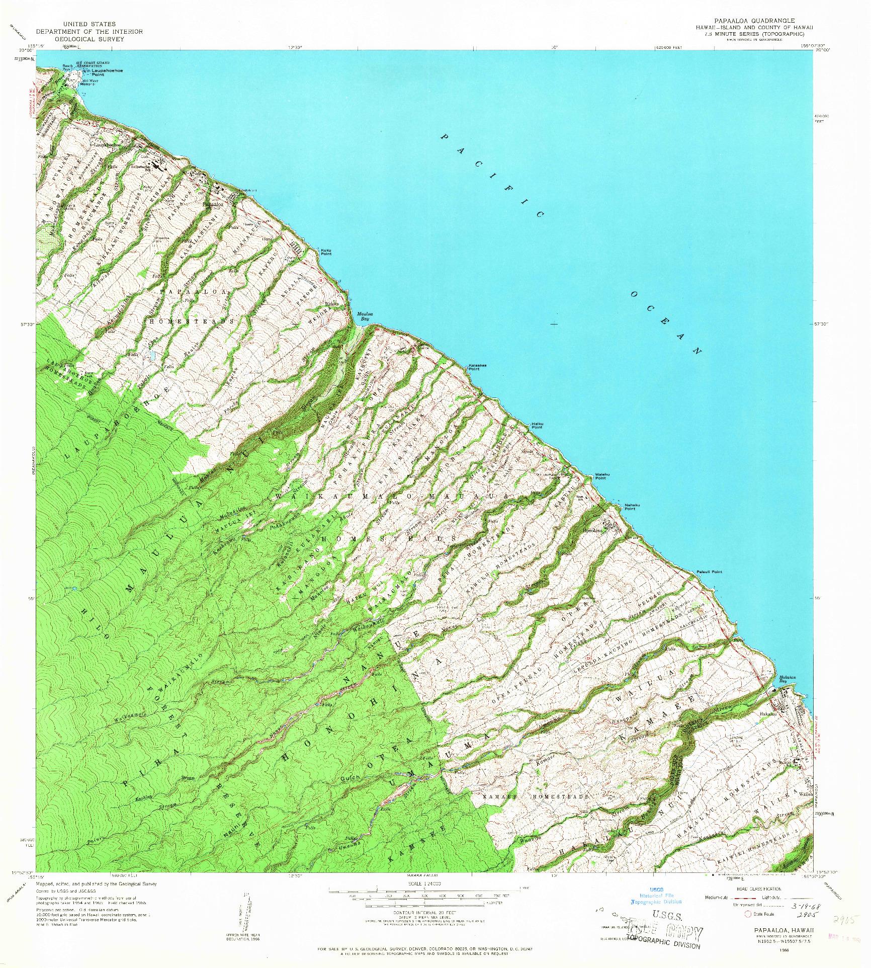 USGS 1:24000-SCALE QUADRANGLE FOR PAPAALOA, HI 1966