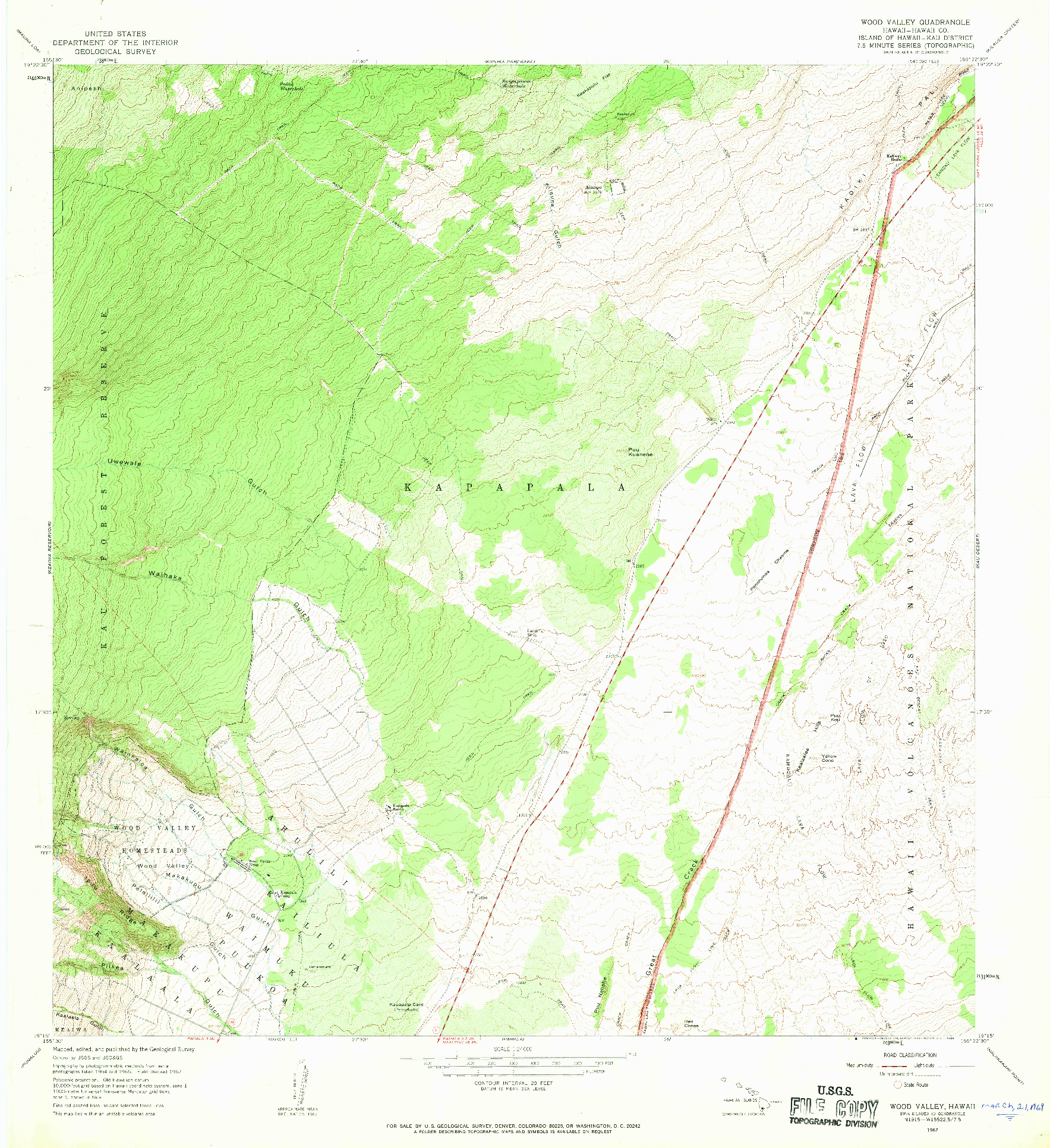 USGS 1:24000-SCALE QUADRANGLE FOR WOOD VALLEY, HI 1967