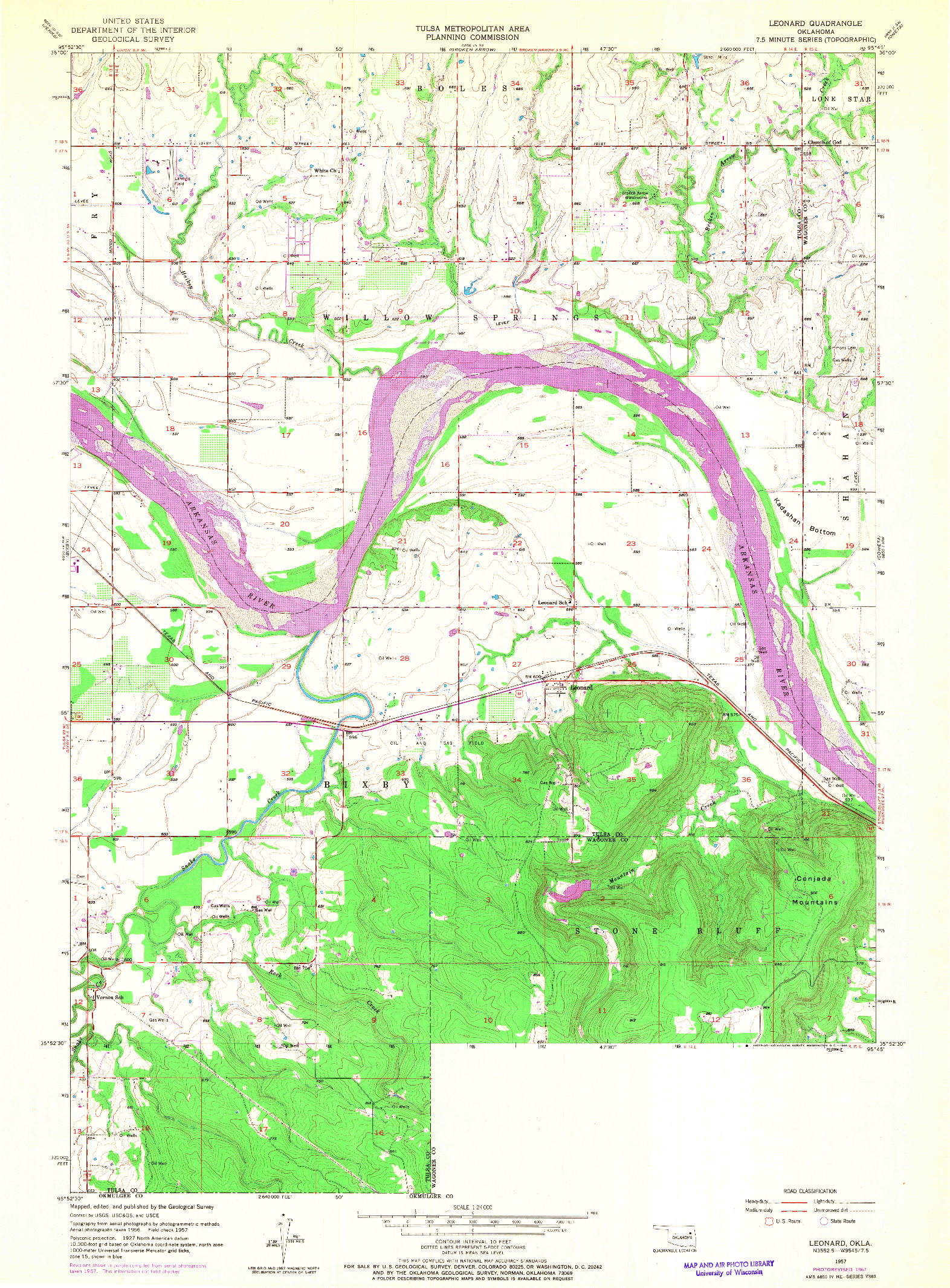USGS 1:24000-SCALE QUADRANGLE FOR LEONARD, OK 1957