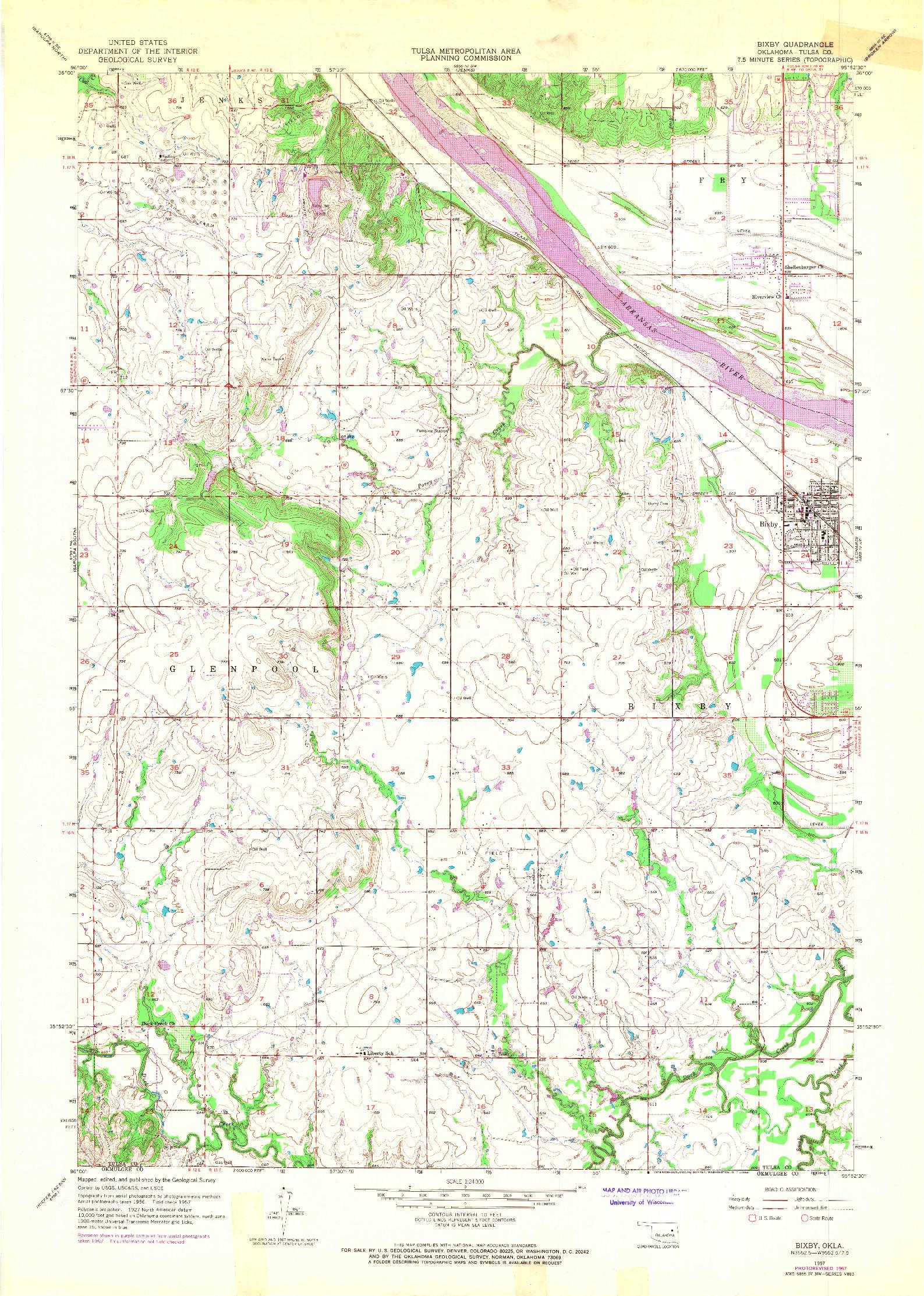 USGS 1:24000-SCALE QUADRANGLE FOR BIXBY, OK 1957