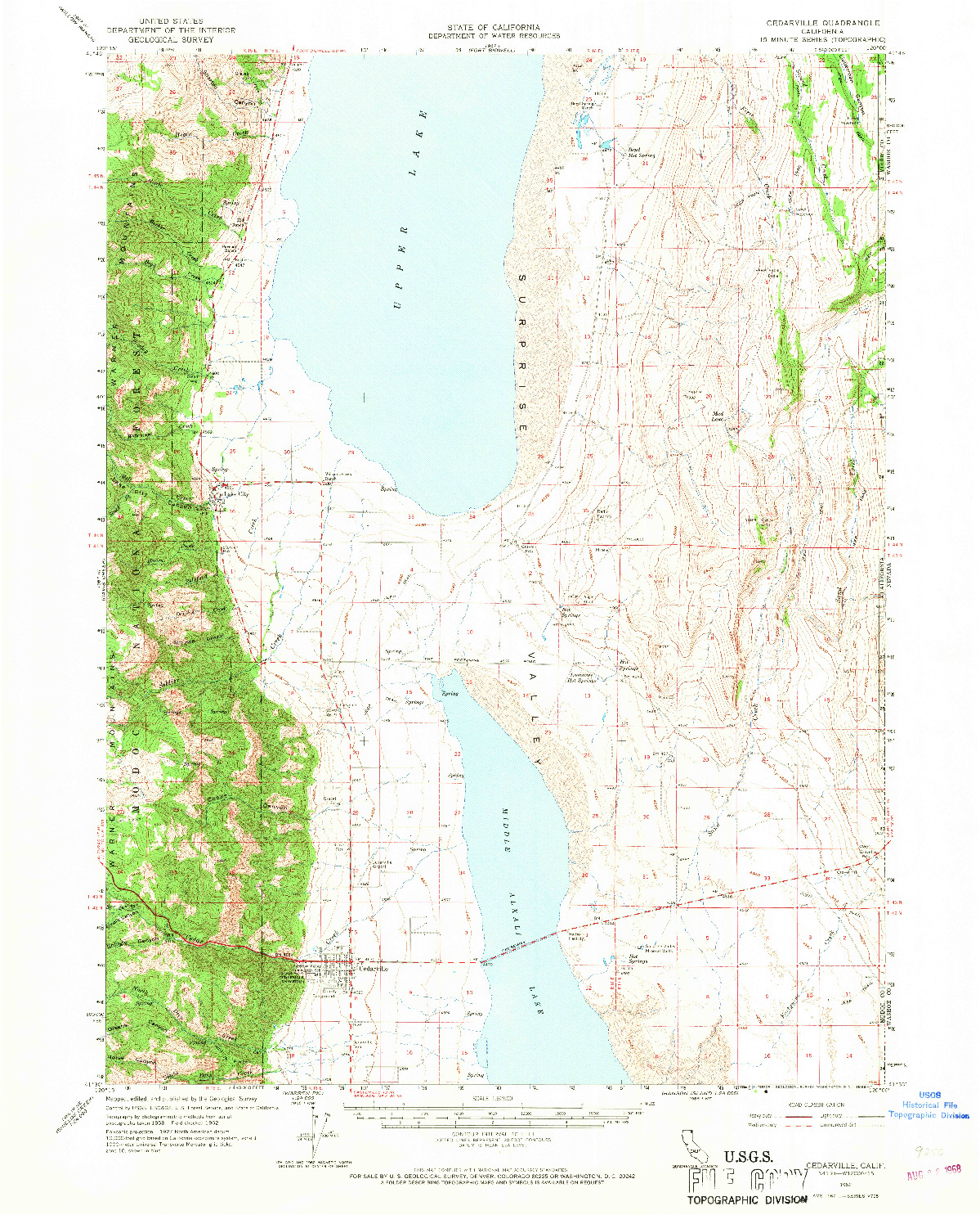 USGS 1:62500-SCALE QUADRANGLE FOR CEDARVILLE, CA 1962