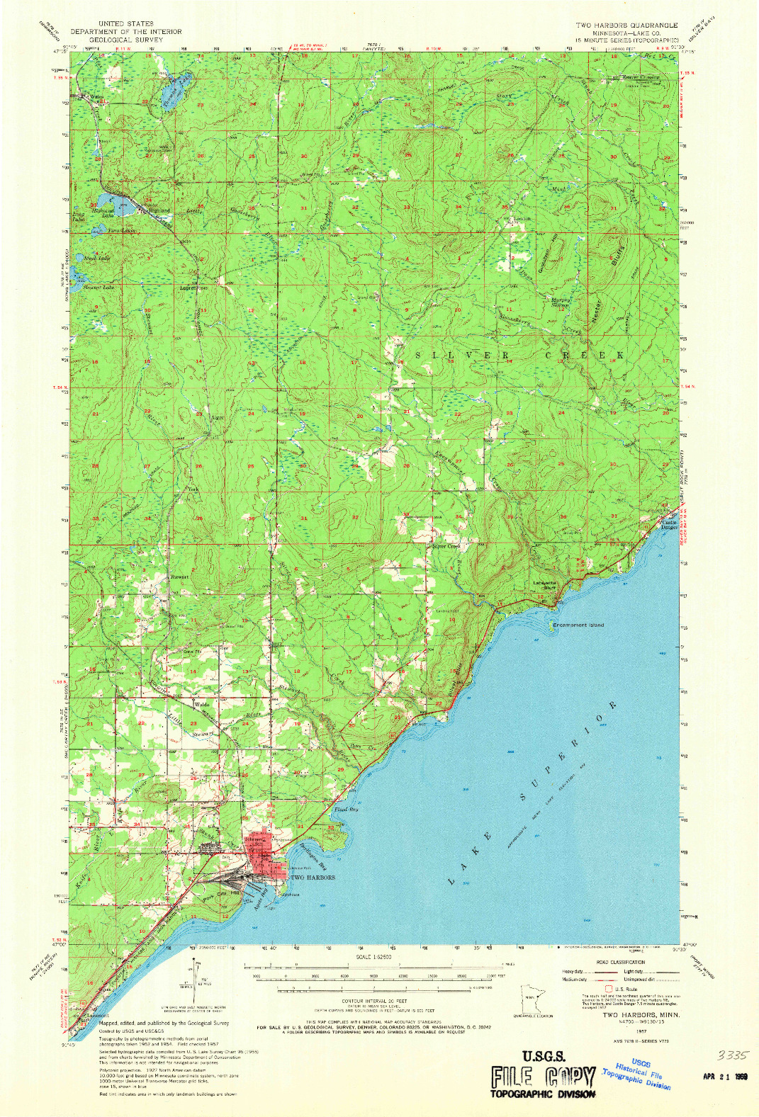 USGS 1:62500-SCALE QUADRANGLE FOR TWO HARBORS, MN 1957