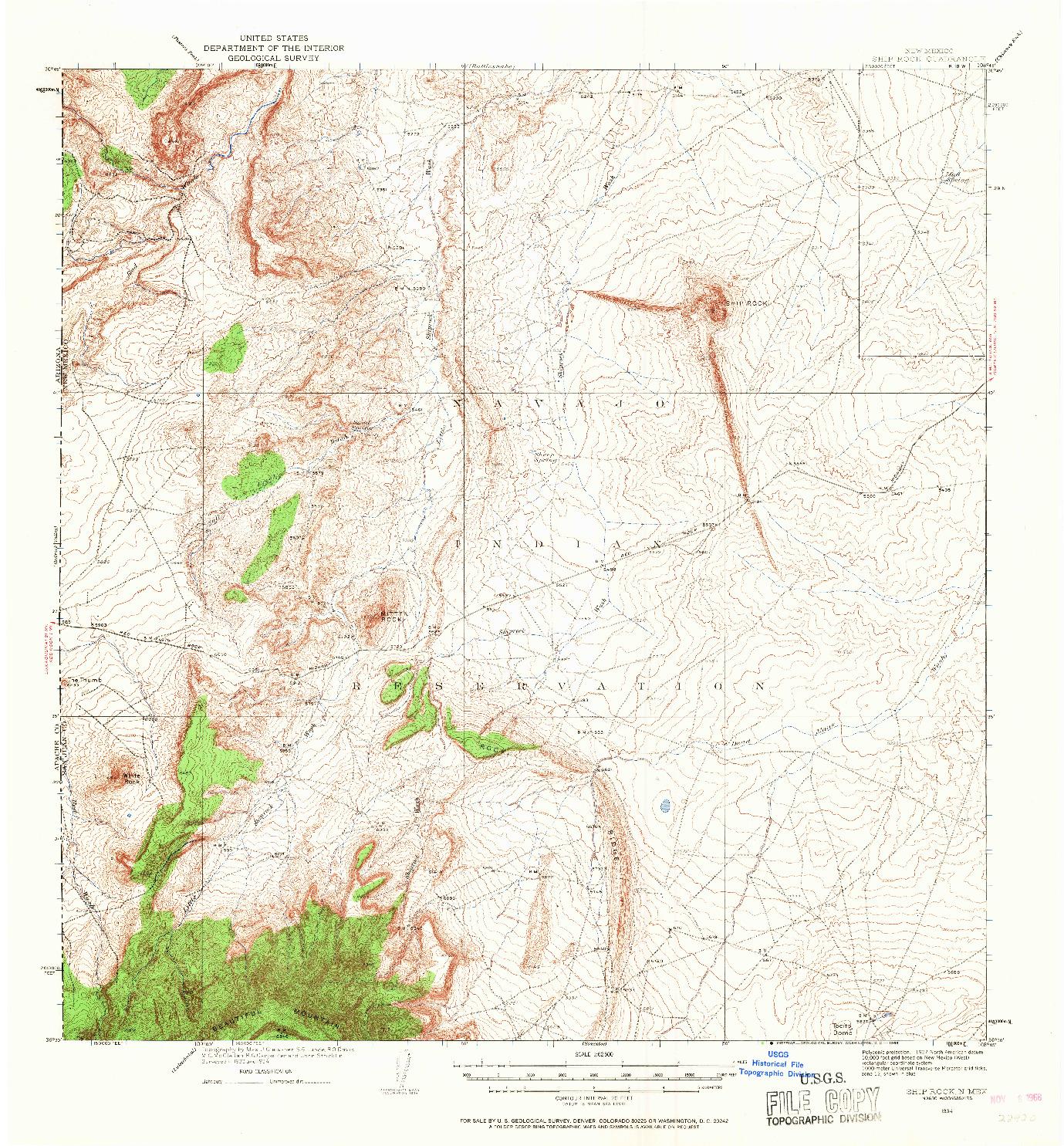 USGS 1:62500-SCALE QUADRANGLE FOR SHIP ROCK, NM 1934