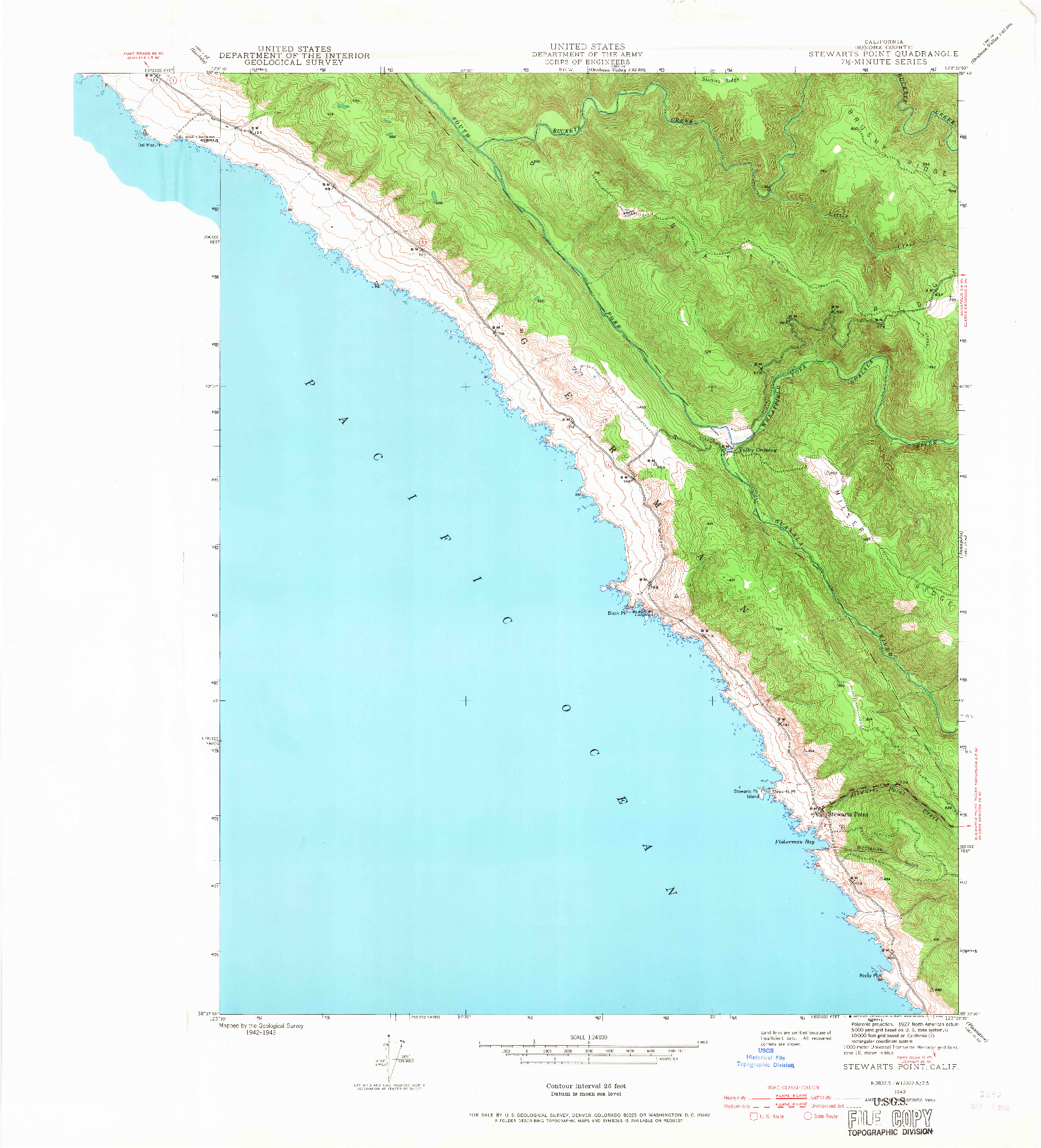 USGS 1:24000-SCALE QUADRANGLE FOR STEWARTS POINT, CA 1943