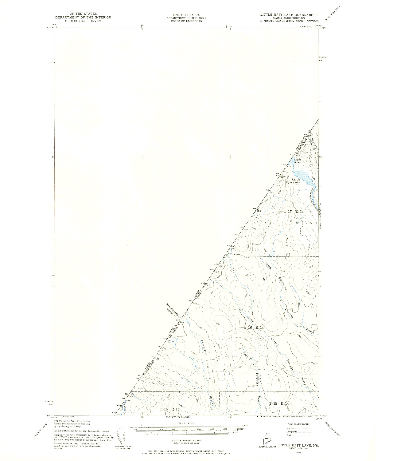 USGS 1:62500-SCALE QUADRANGLE FOR LITTLE EAST LAKE, ME 1955