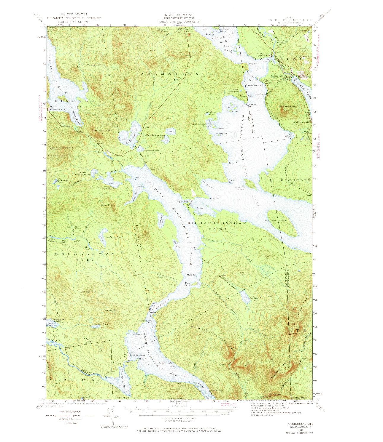USGS 1:62500-SCALE QUADRANGLE FOR OQUOSSOC, ME 1940