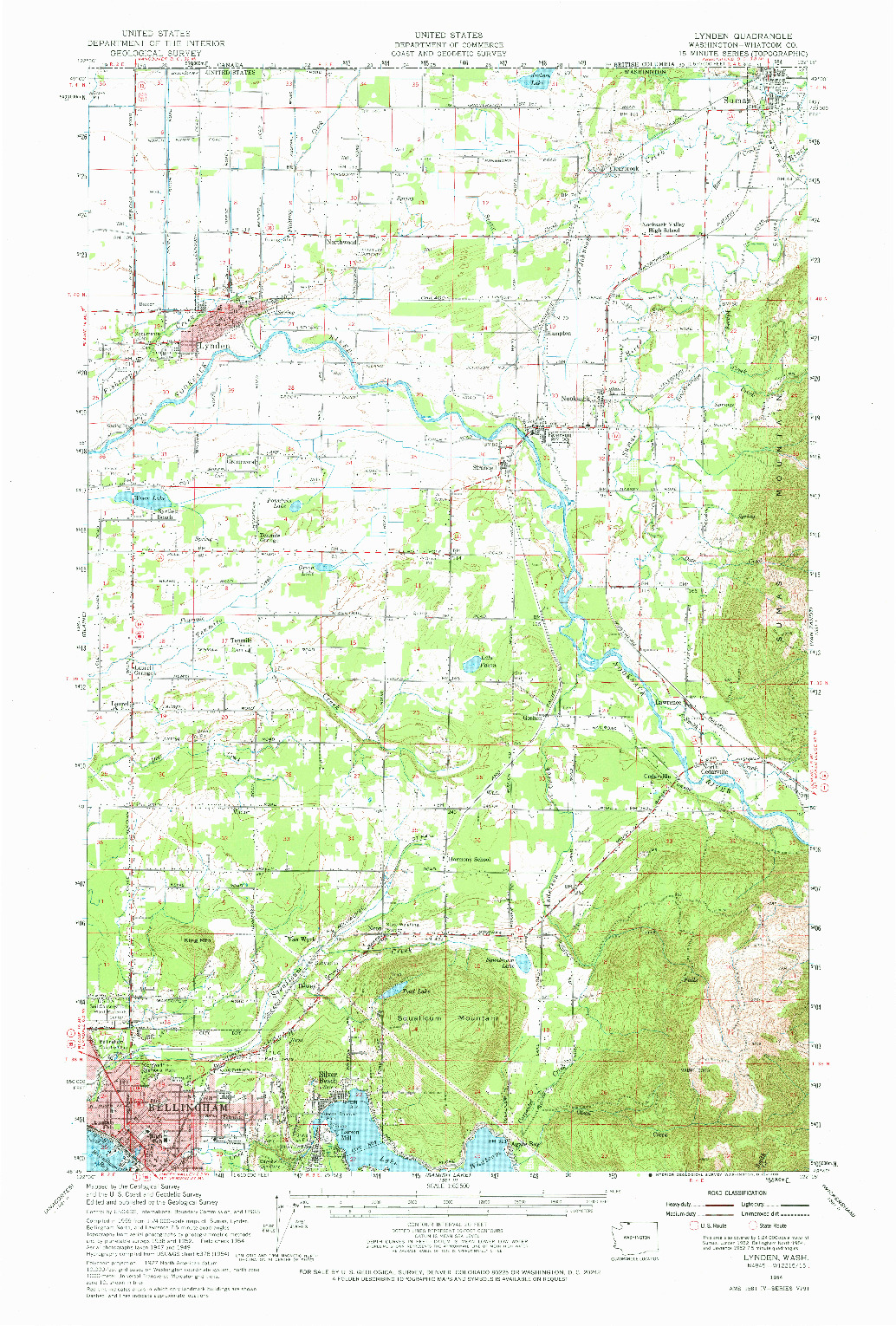 USGS 1:62500-SCALE QUADRANGLE FOR LYNDEN, WA 1954