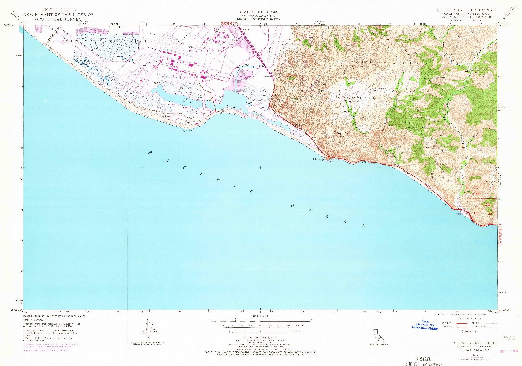 USGS 1:24000-SCALE QUADRANGLE FOR POINT MUGU, CA 1949