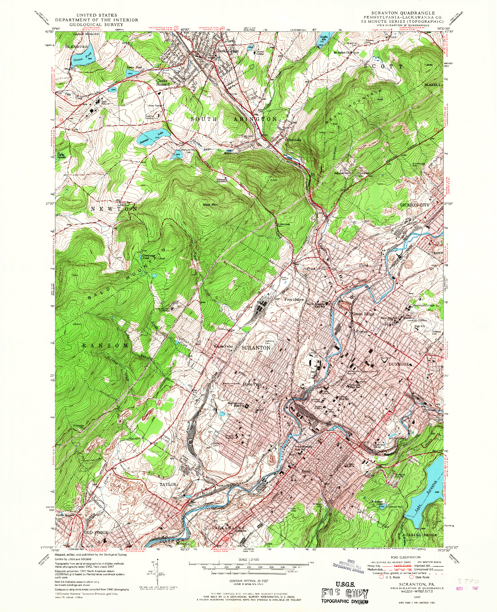 USGS 1:24000-SCALE QUADRANGLE FOR SCRANTON, PA 1947