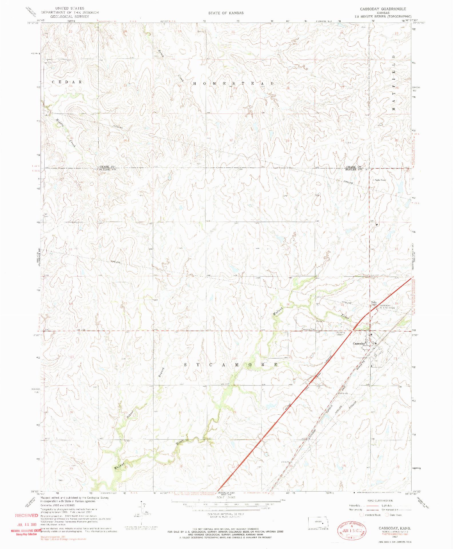 USGS 1:24000-SCALE QUADRANGLE FOR CASSODAY, KS 1967