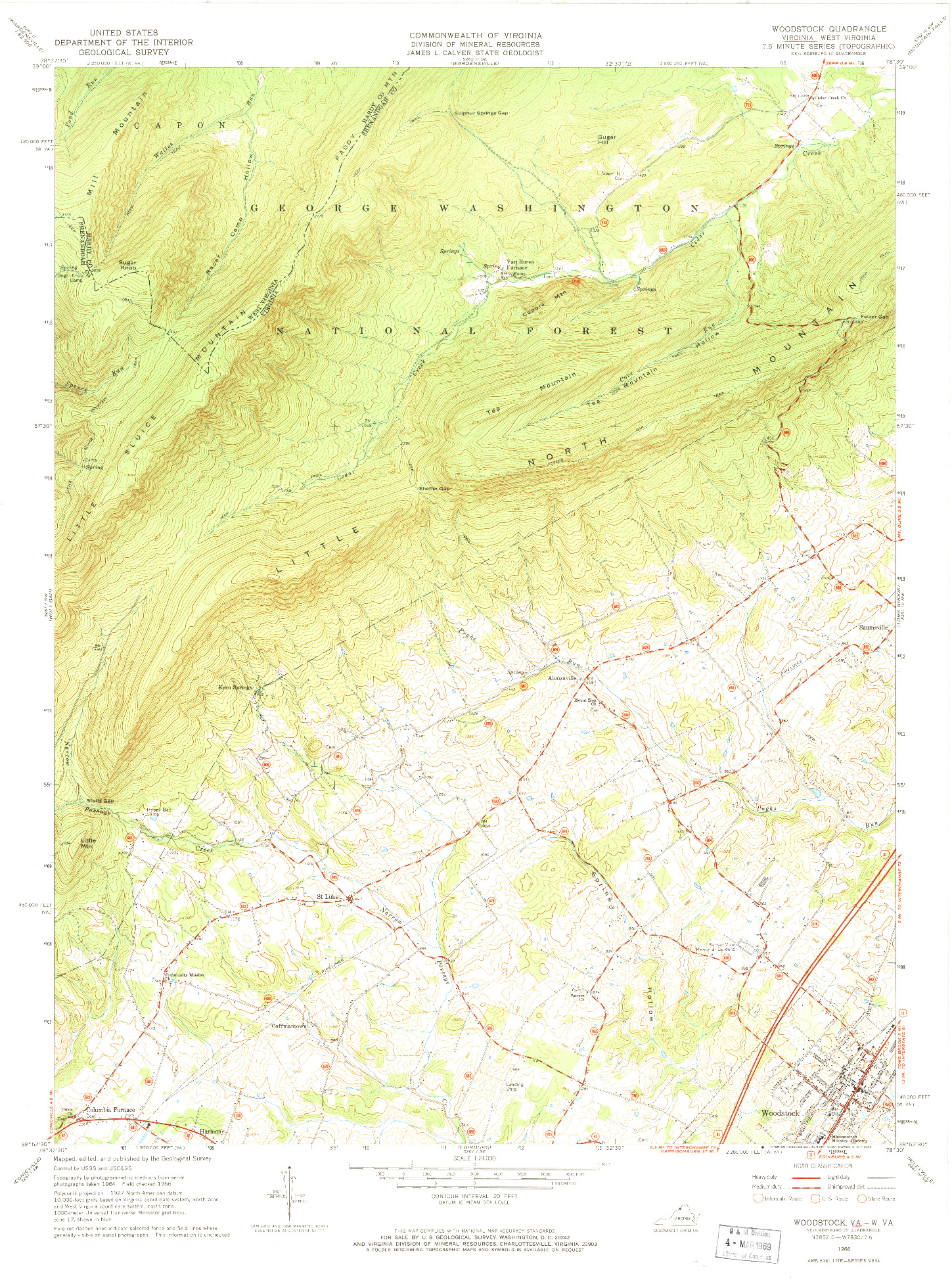 USGS 1:24000-SCALE QUADRANGLE FOR WOODSTOCK, VA 1966