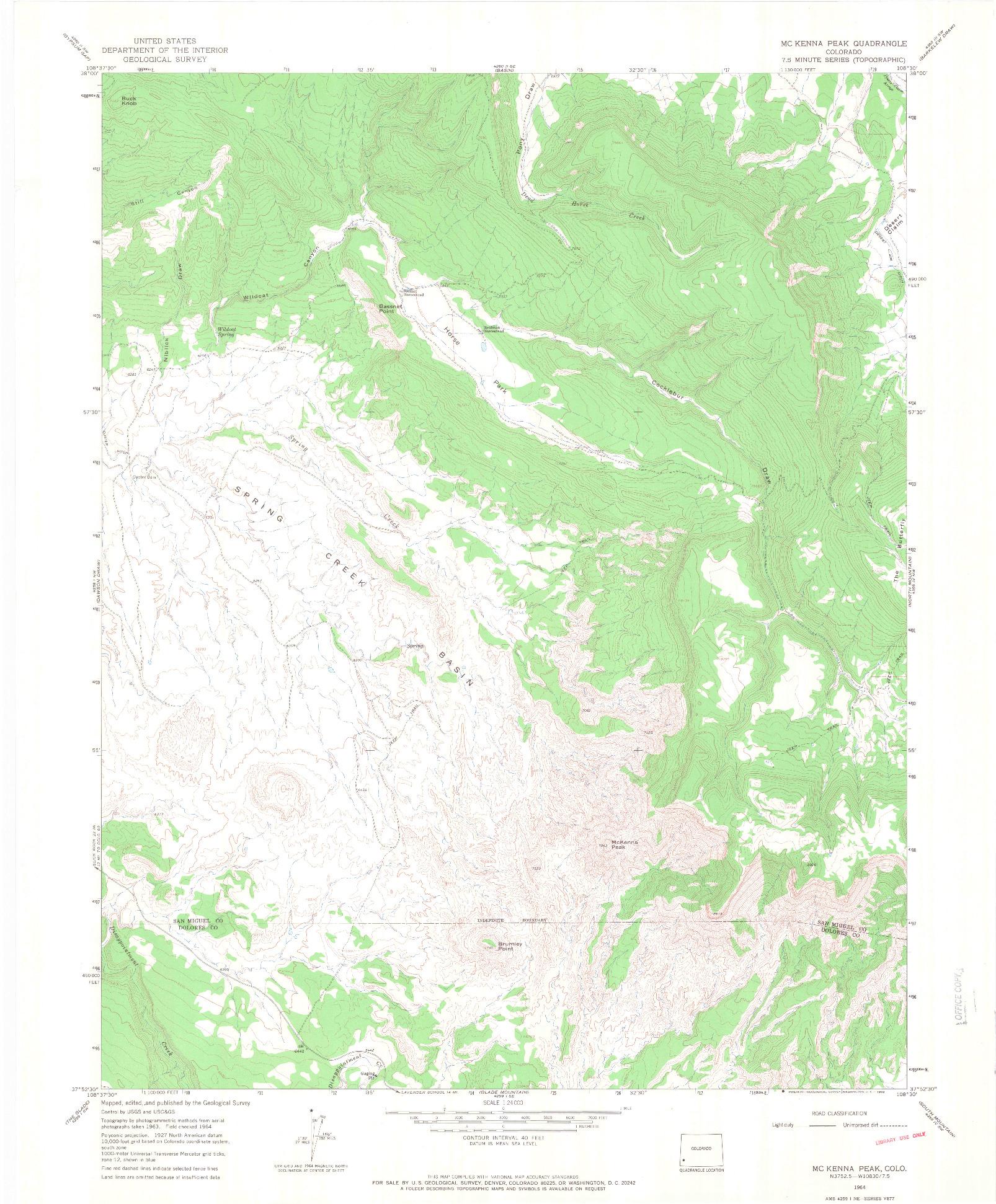 USGS 1:24000-SCALE QUADRANGLE FOR MC KENNA PEAK, CO 1964