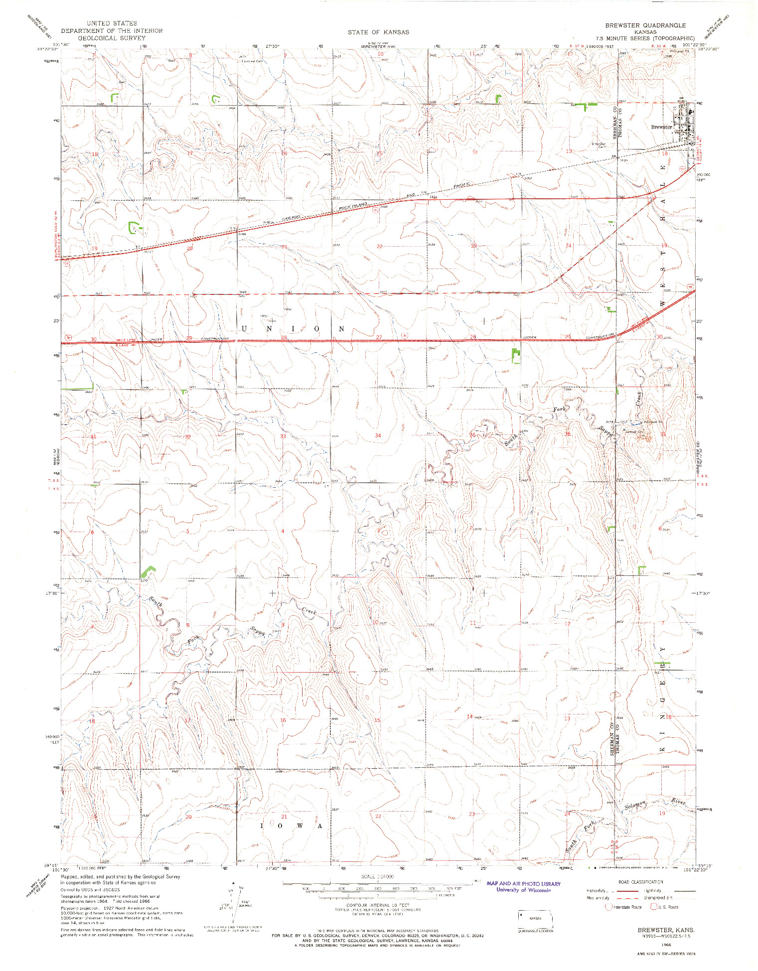 USGS 1:24000-SCALE QUADRANGLE FOR BREWSTER, KS 1966
