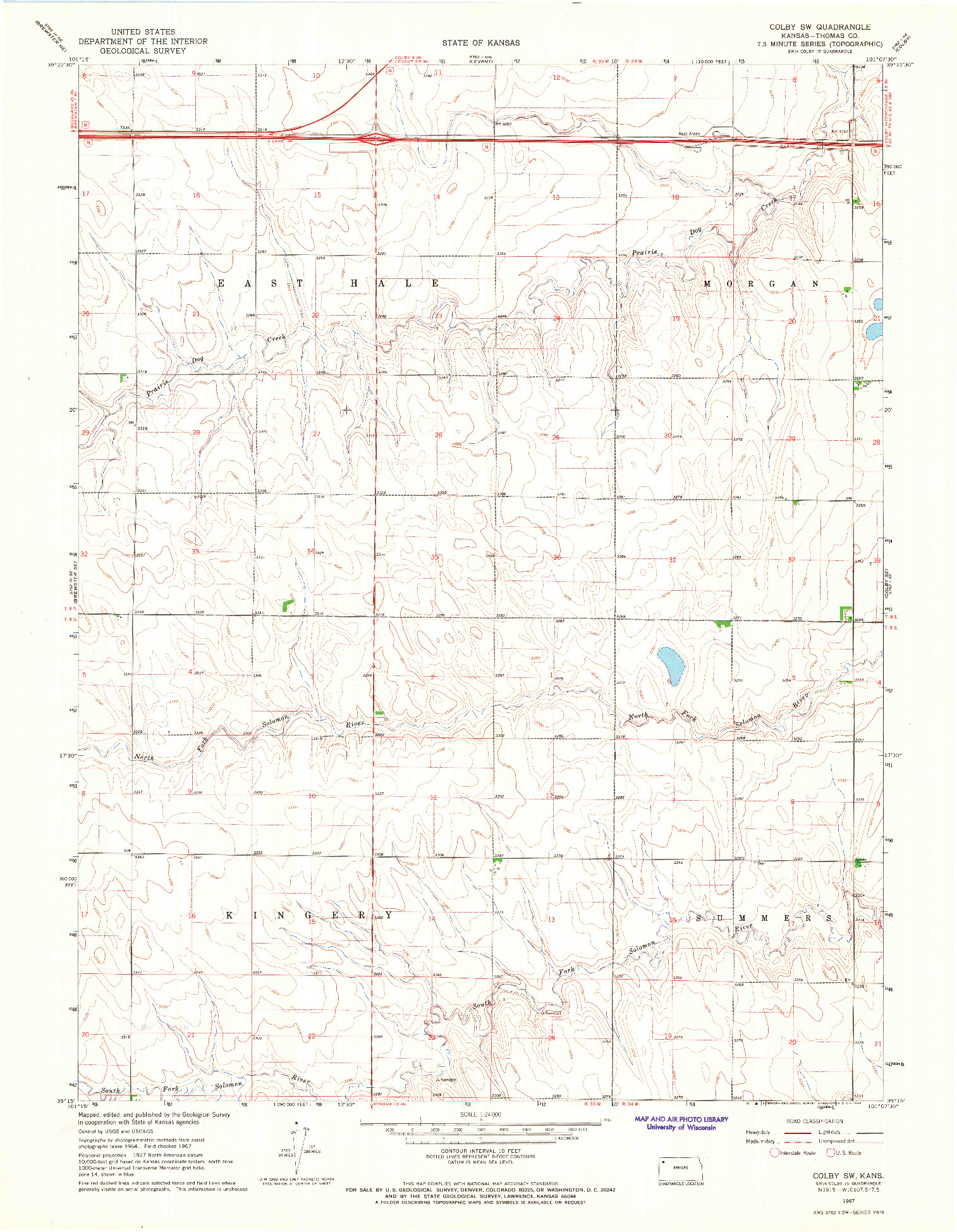USGS 1:24000-SCALE QUADRANGLE FOR COLBY SW, KS 1967