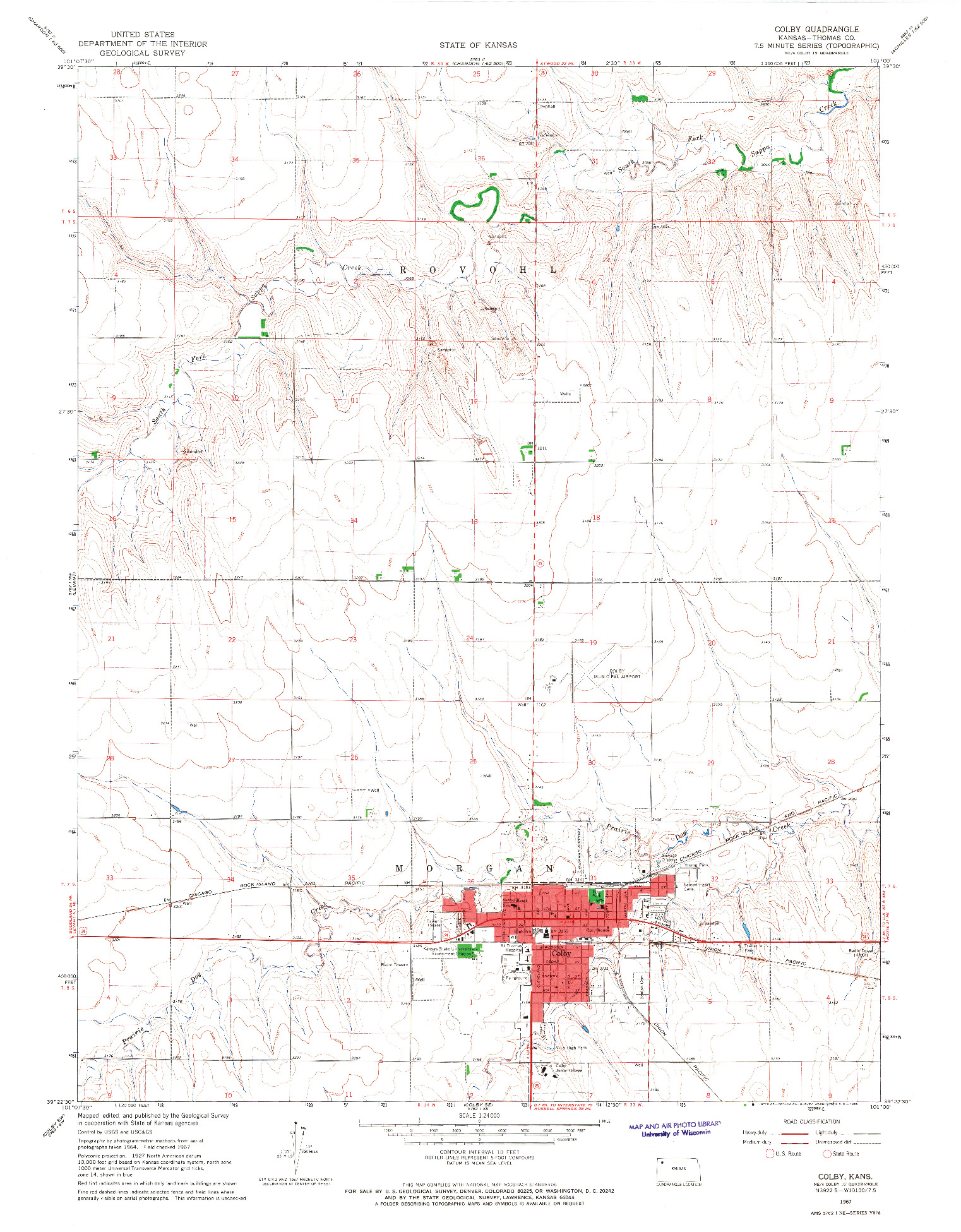 USGS 1:24000-SCALE QUADRANGLE FOR COLBY, KS 1967