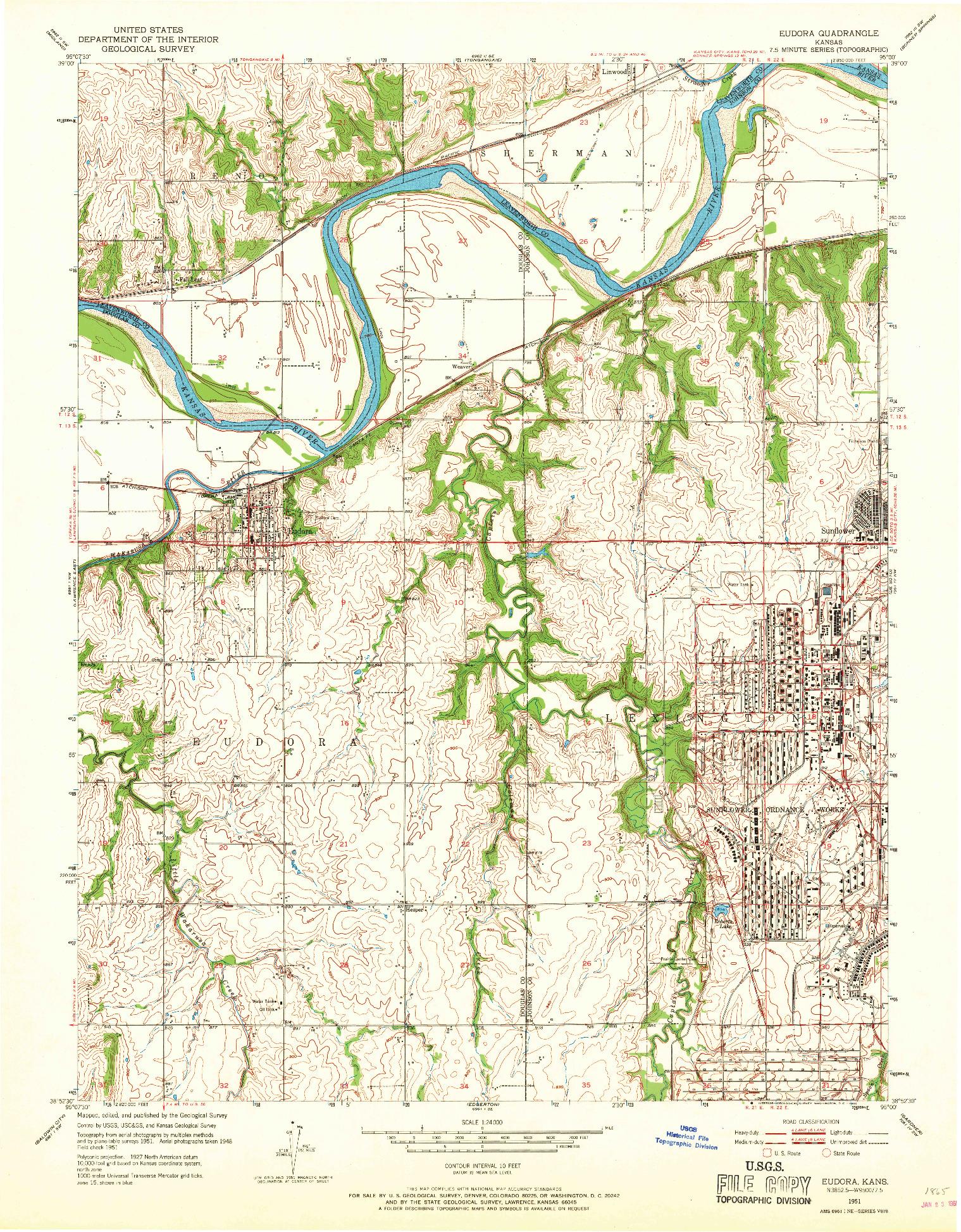 USGS 1:24000-SCALE QUADRANGLE FOR EUDORA, KS 1951