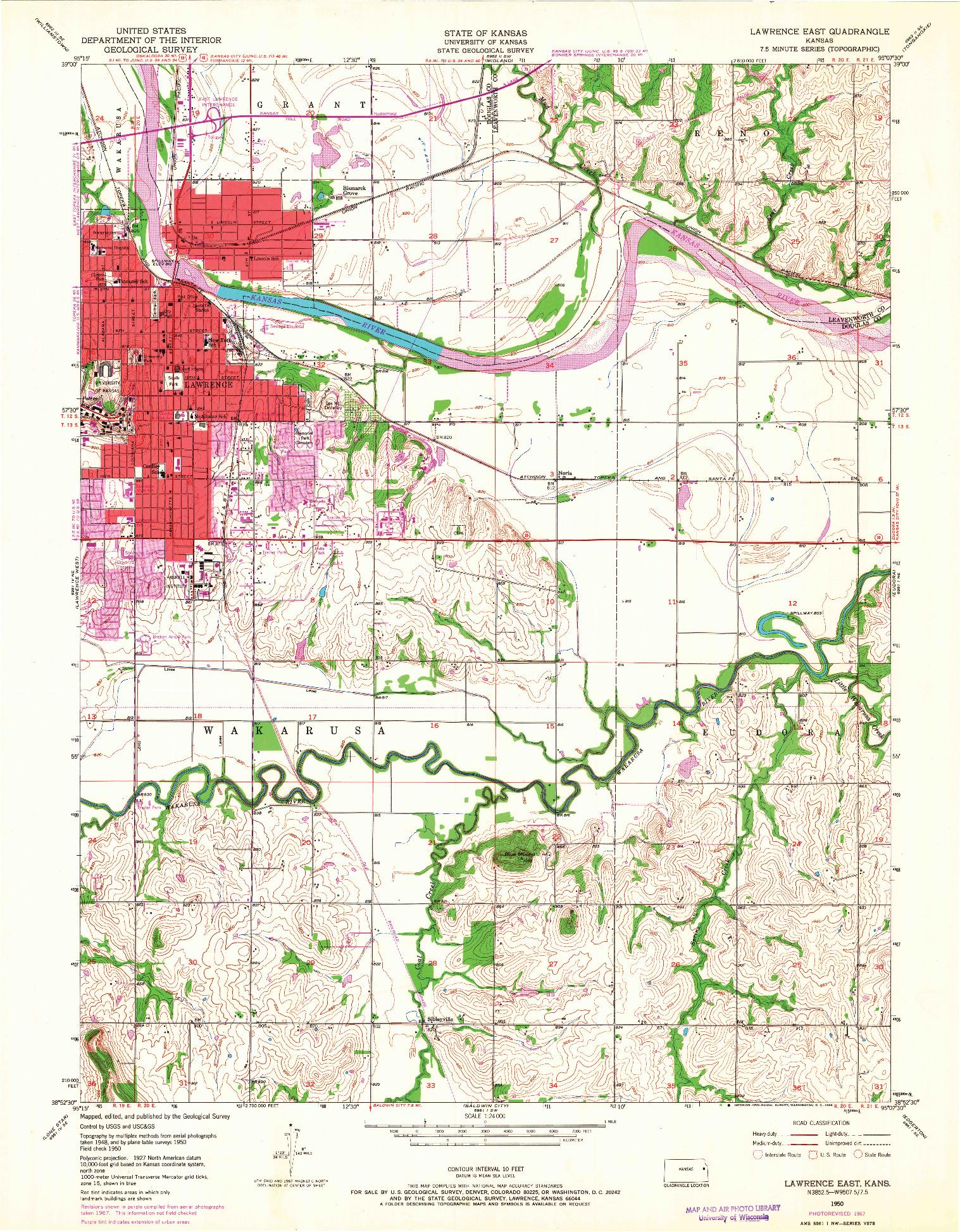 USGS 1:24000-SCALE QUADRANGLE FOR LAWRENCE EAST, KS 1950