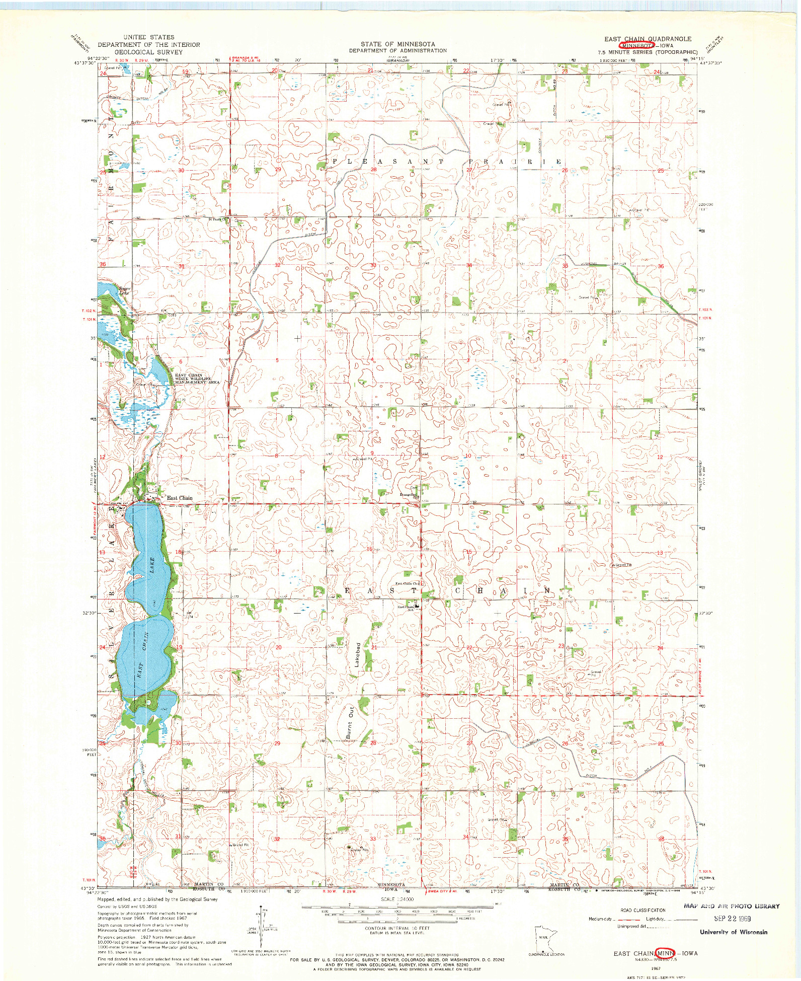 USGS 1:24000-SCALE QUADRANGLE FOR EAST CHAIN, MN 1967