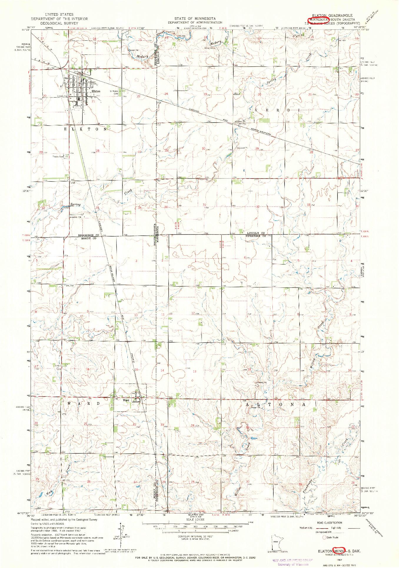 USGS 1:24000-SCALE QUADRANGLE FOR ELKTON, MN 1967