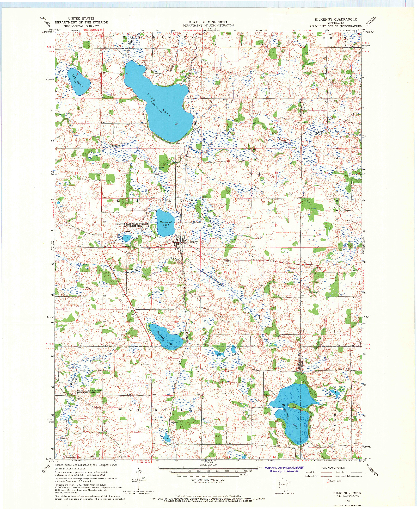 USGS 1:24000-SCALE QUADRANGLE FOR KILKENNY, MN 1966