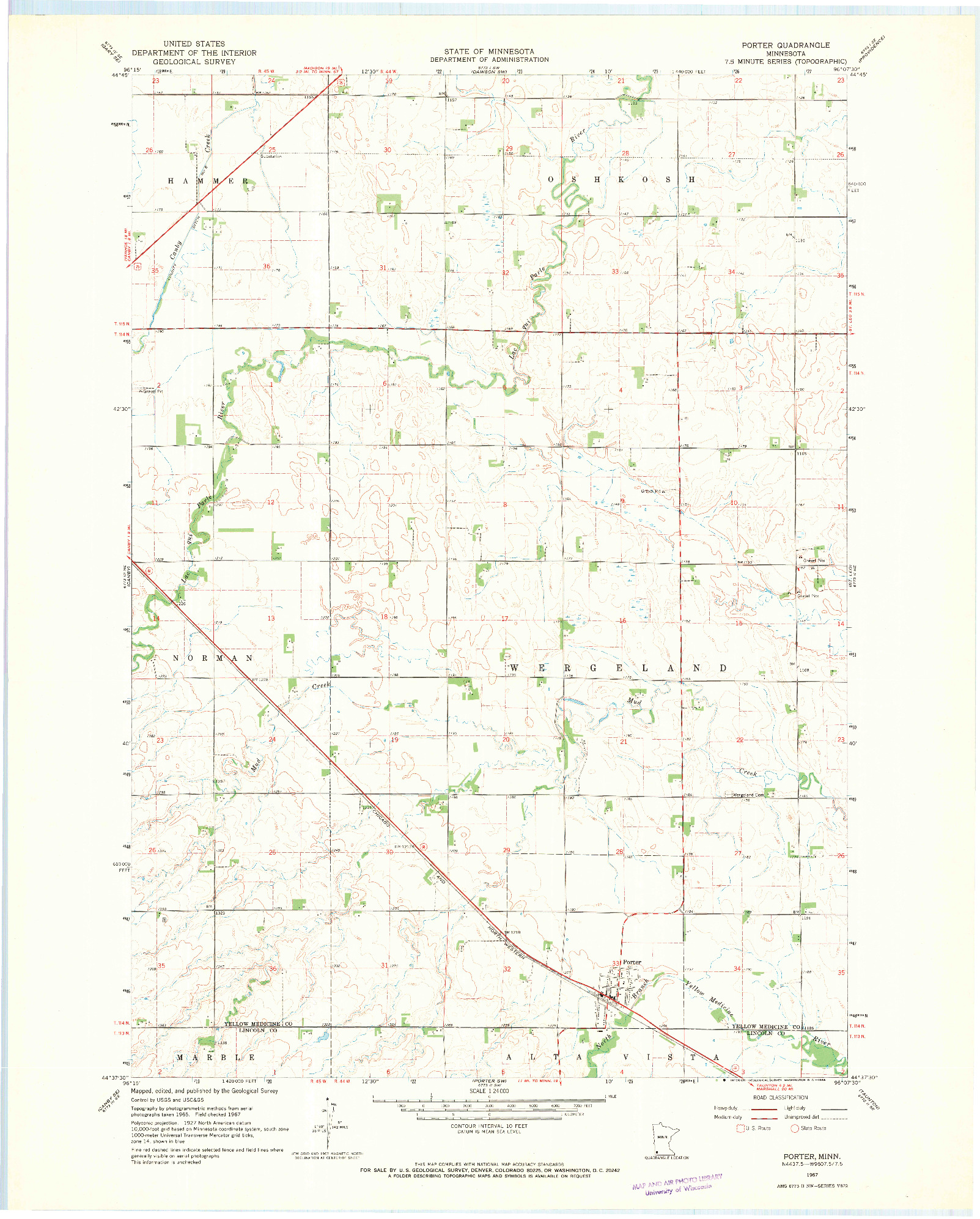 USGS 1:24000-SCALE QUADRANGLE FOR PORTER, MN 1967