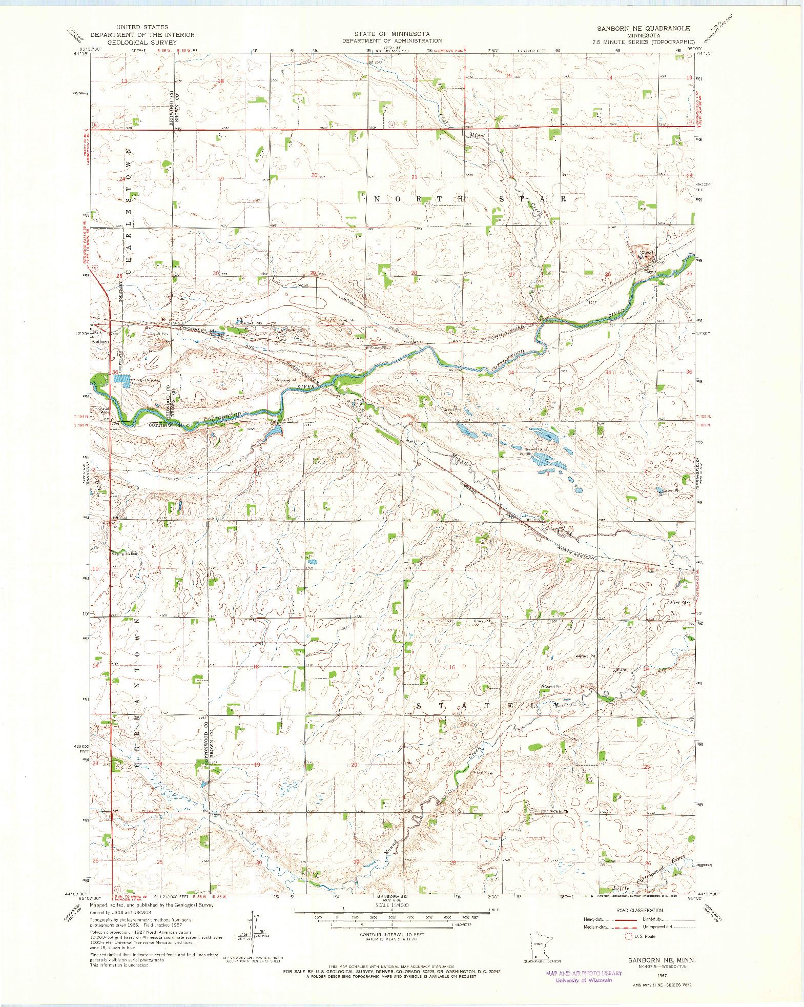 USGS 1:24000-SCALE QUADRANGLE FOR SANBORN NE, MN 1967