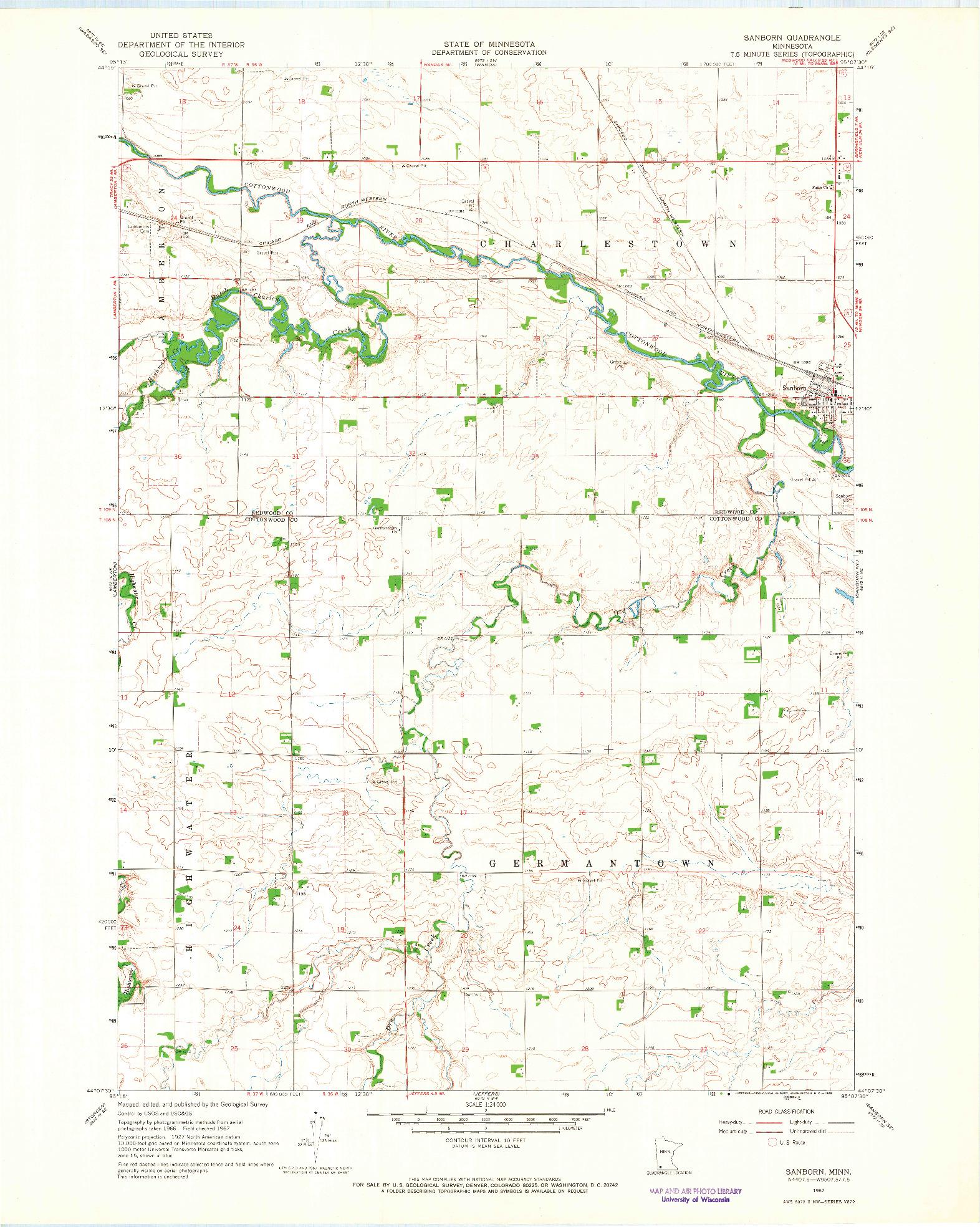 USGS 1:24000-SCALE QUADRANGLE FOR SANBORN, MN 1967