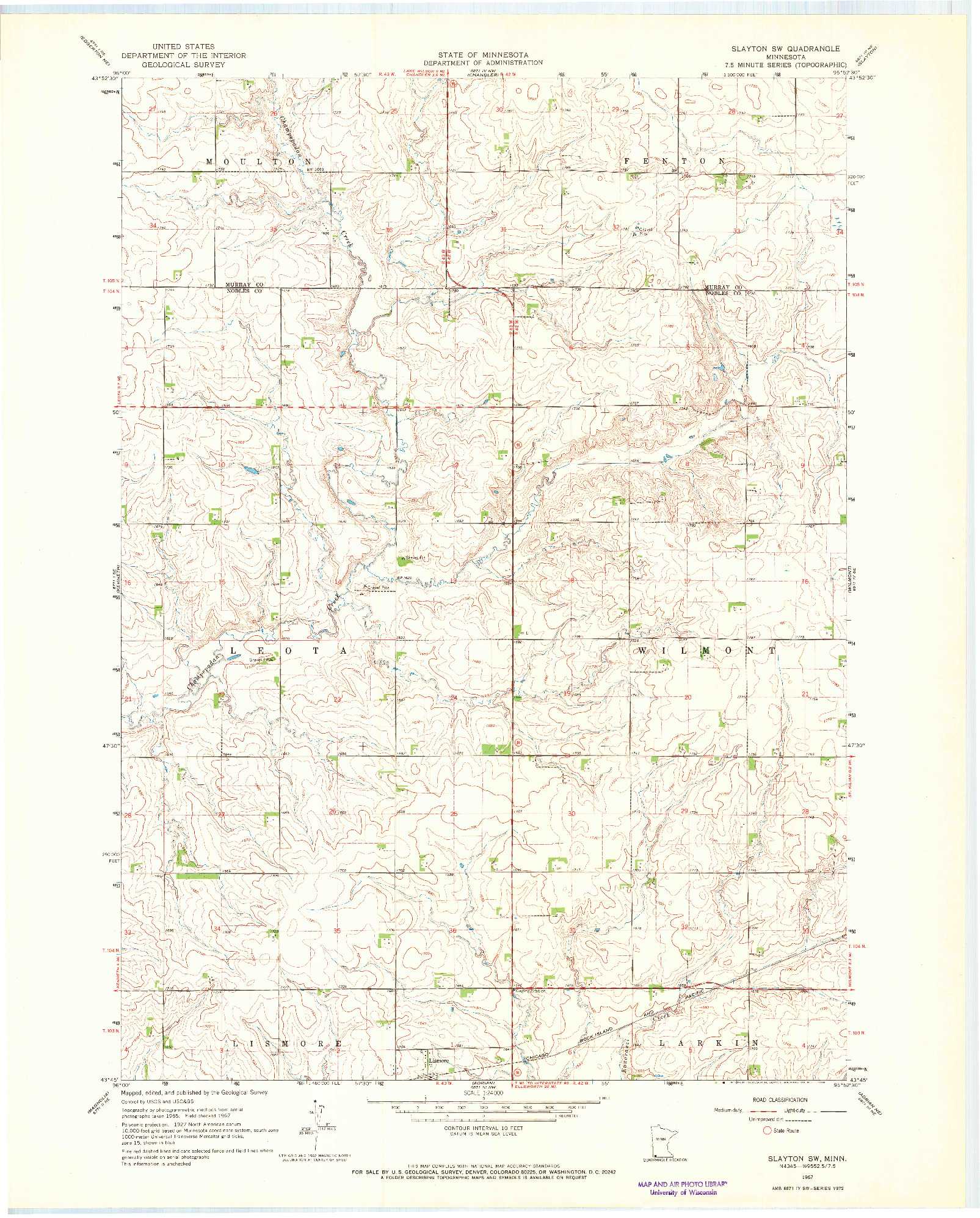 USGS 1:24000-SCALE QUADRANGLE FOR SLAYTON SW, MN 1967