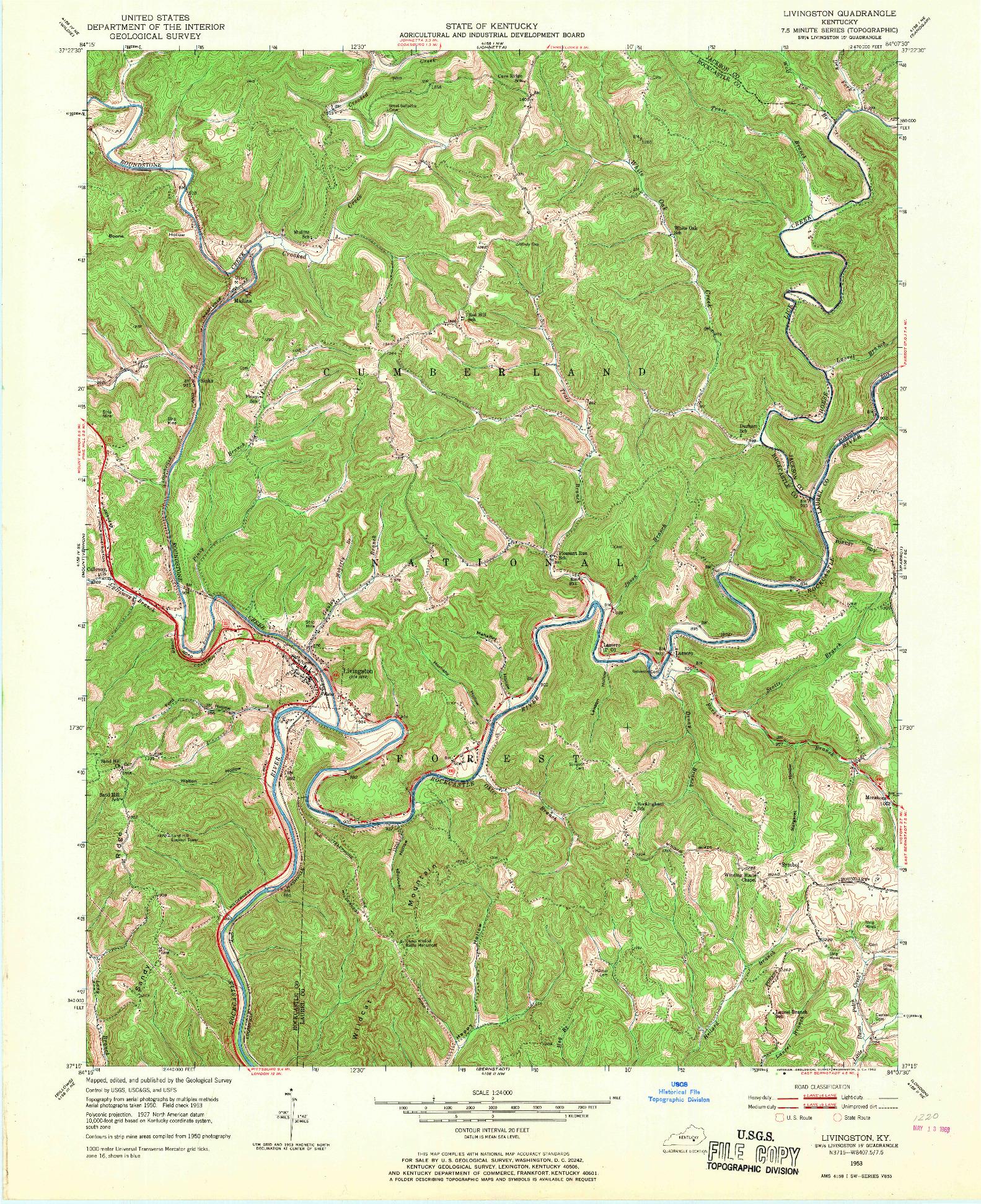 USGS 1:24000-SCALE QUADRANGLE FOR LIVINGSTON, KY 1953