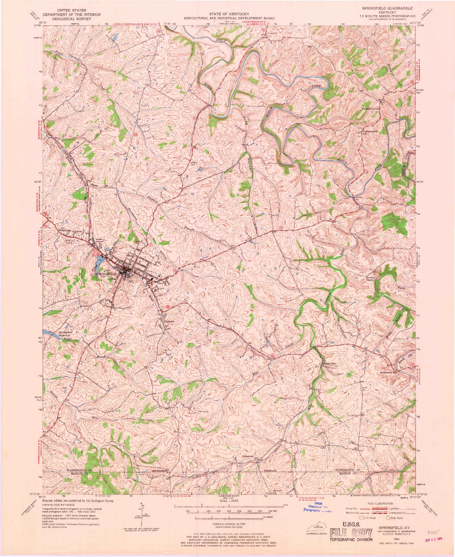 USGS 1:24000-SCALE QUADRANGLE FOR SPRINGFIELD, KY 1953