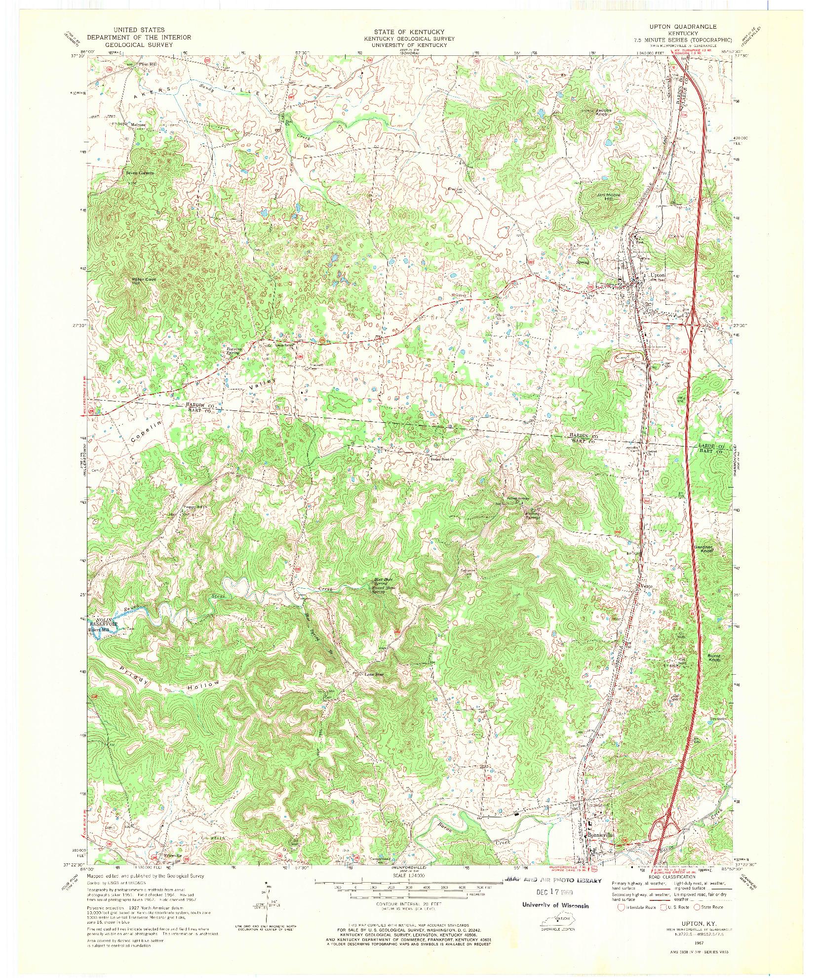 USGS 1:24000-SCALE QUADRANGLE FOR UPTON, KY 1967