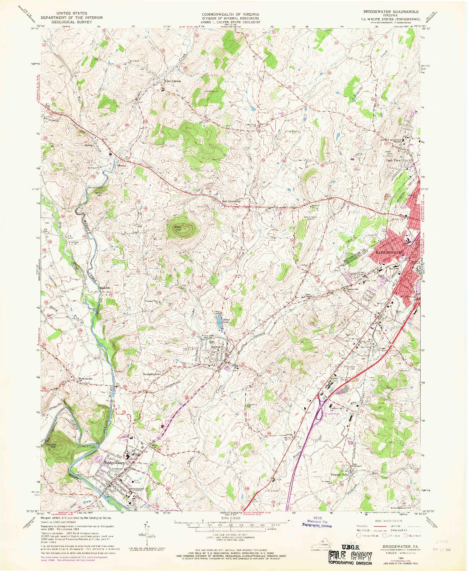 USGS 1:24000-SCALE QUADRANGLE FOR BRIDGEWATER, VA 1964