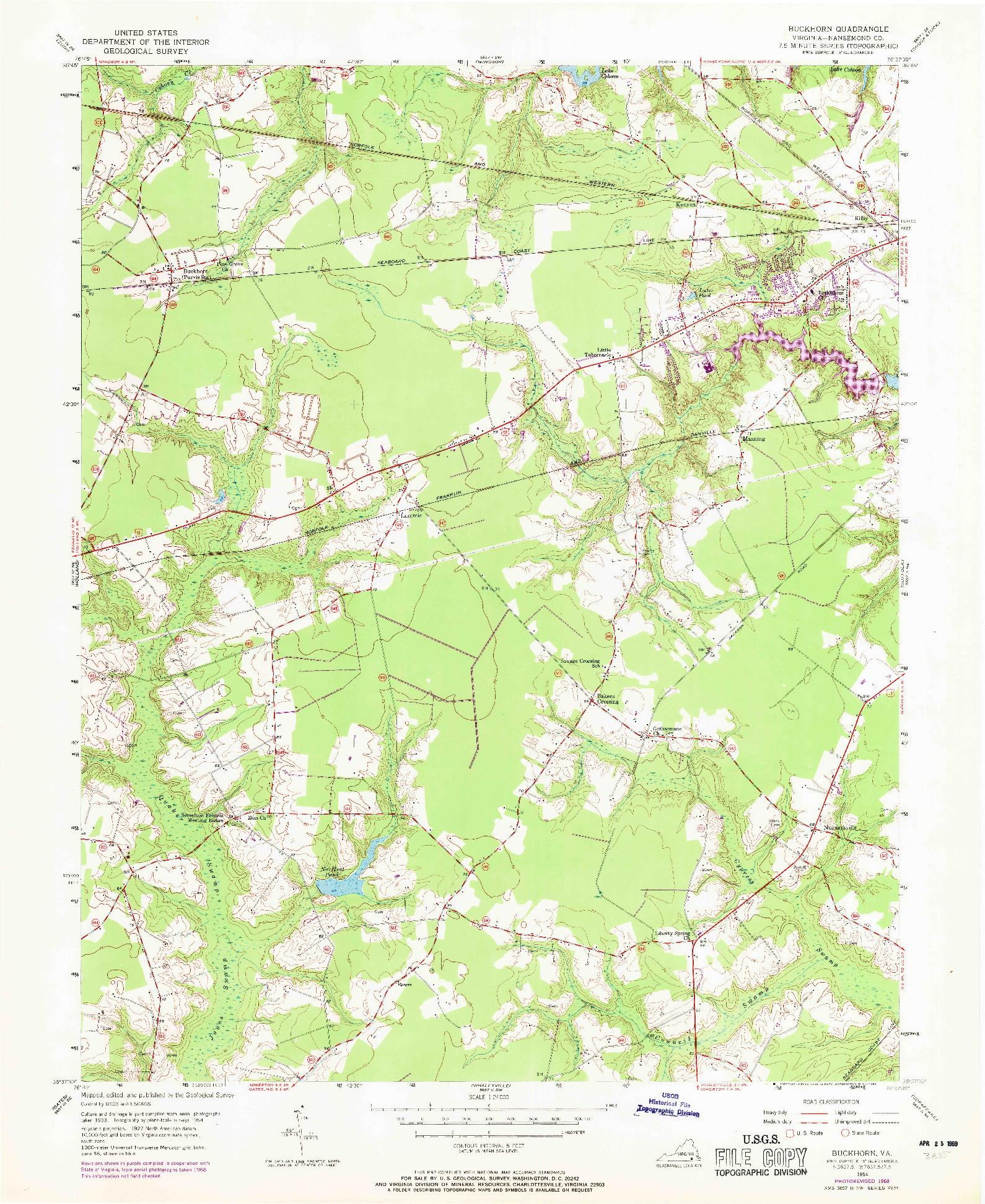 USGS 1:24000-SCALE QUADRANGLE FOR BUCKHORN, VA 1954