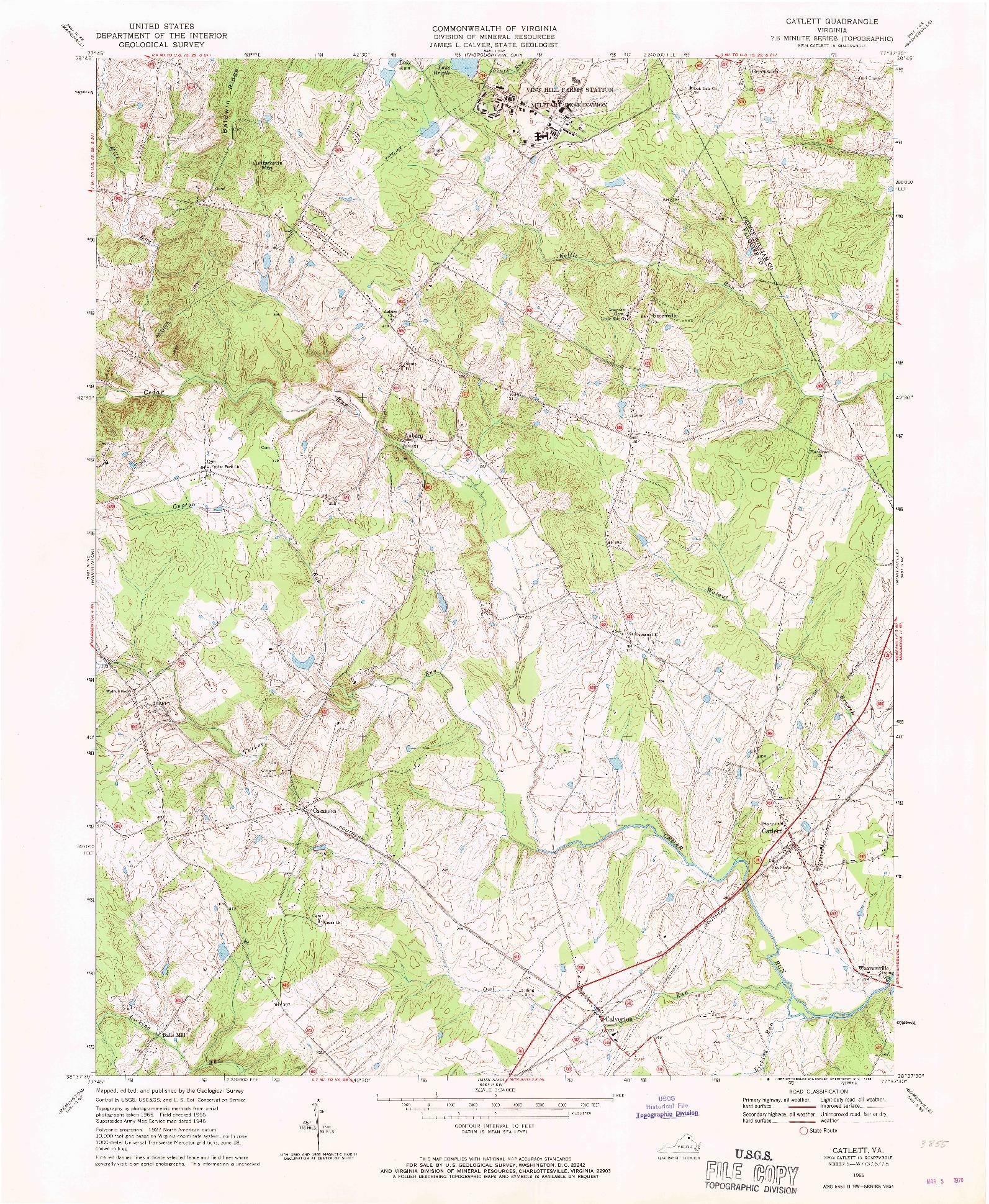 USGS 1:24000-SCALE QUADRANGLE FOR CATLETT, VA 1966