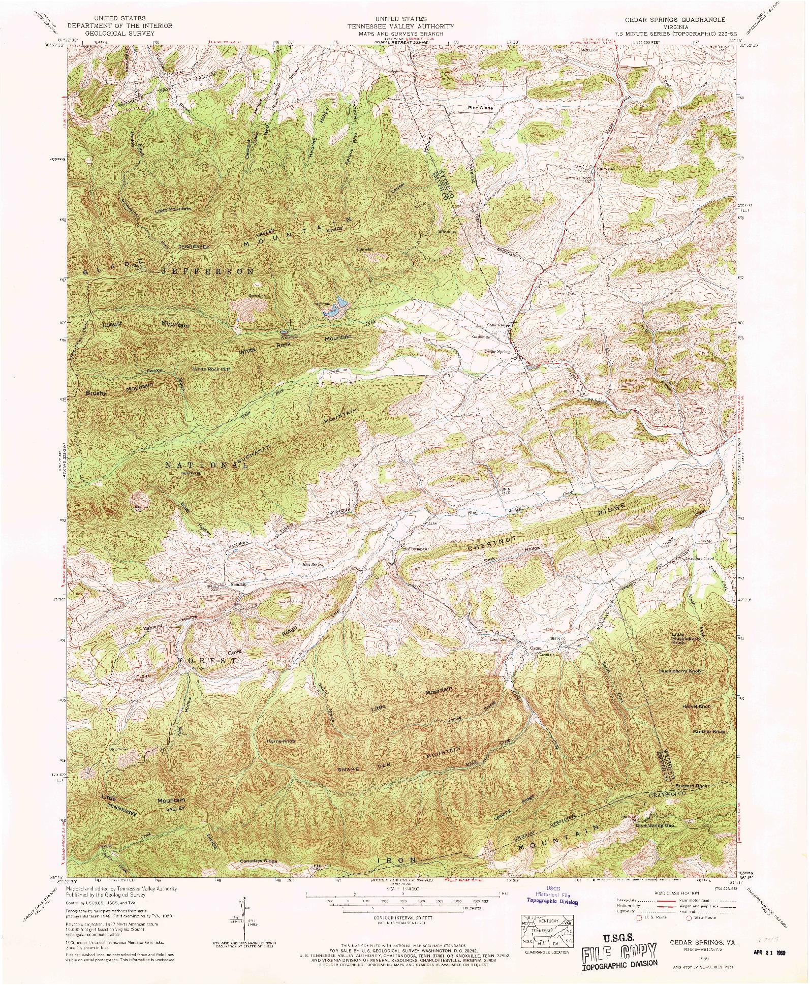 USGS 1:24000-SCALE QUADRANGLE FOR CEDAR SPRINGS, VA 1959