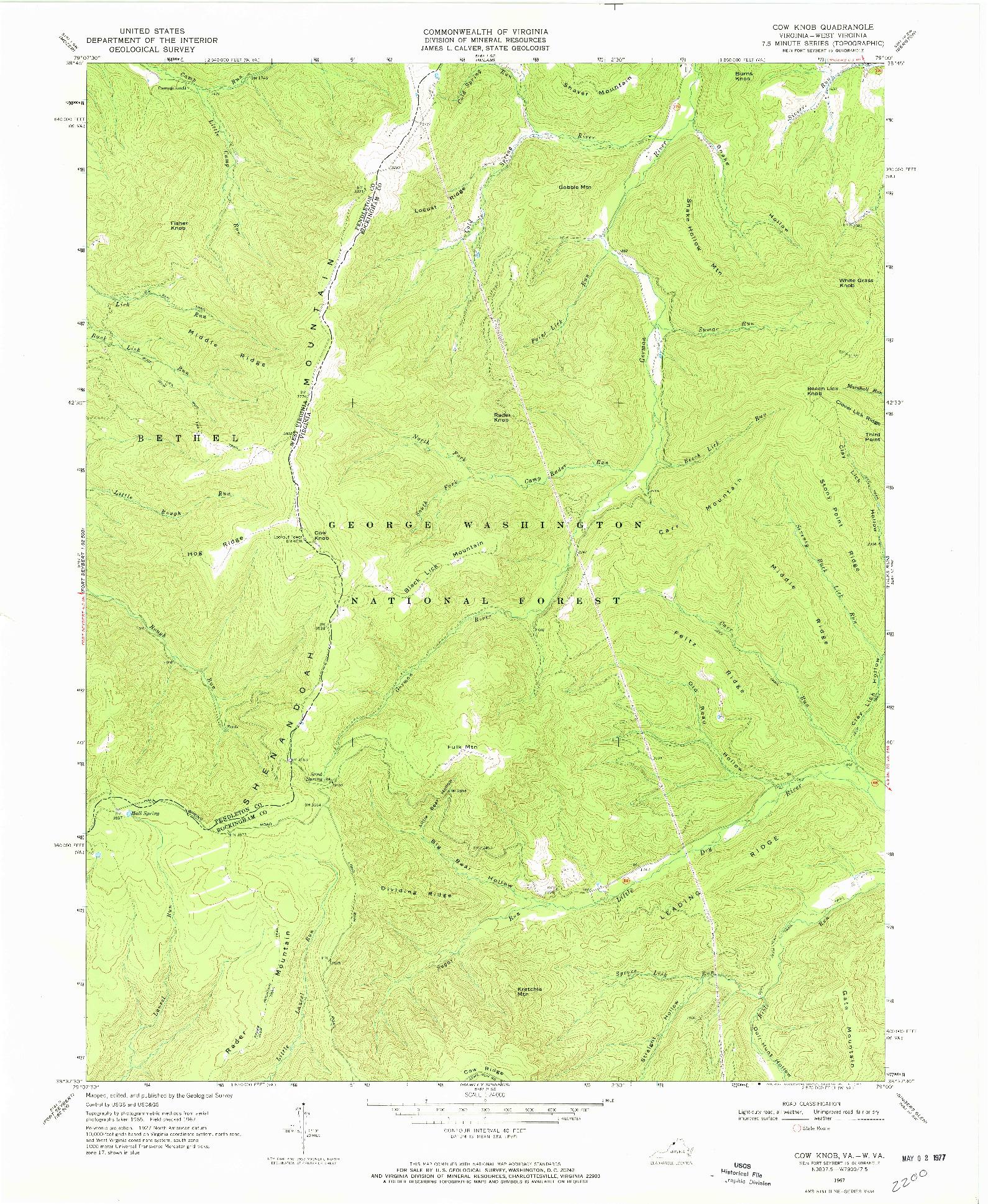 USGS 1:24000-SCALE QUADRANGLE FOR COW KNOB, VA 1967